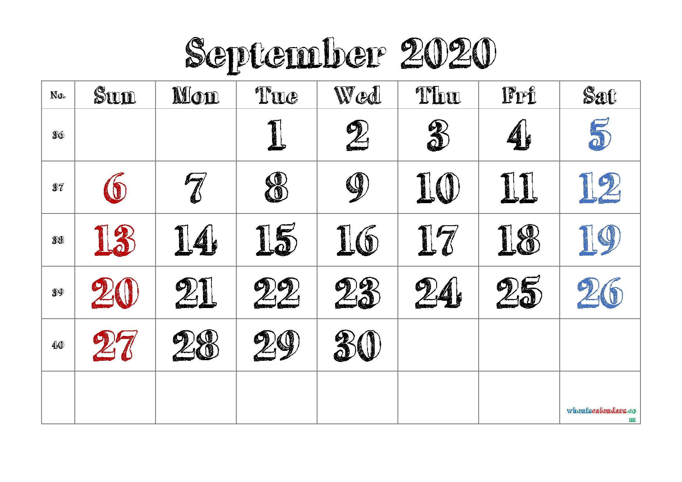 Free September 2020 Calendar Printable