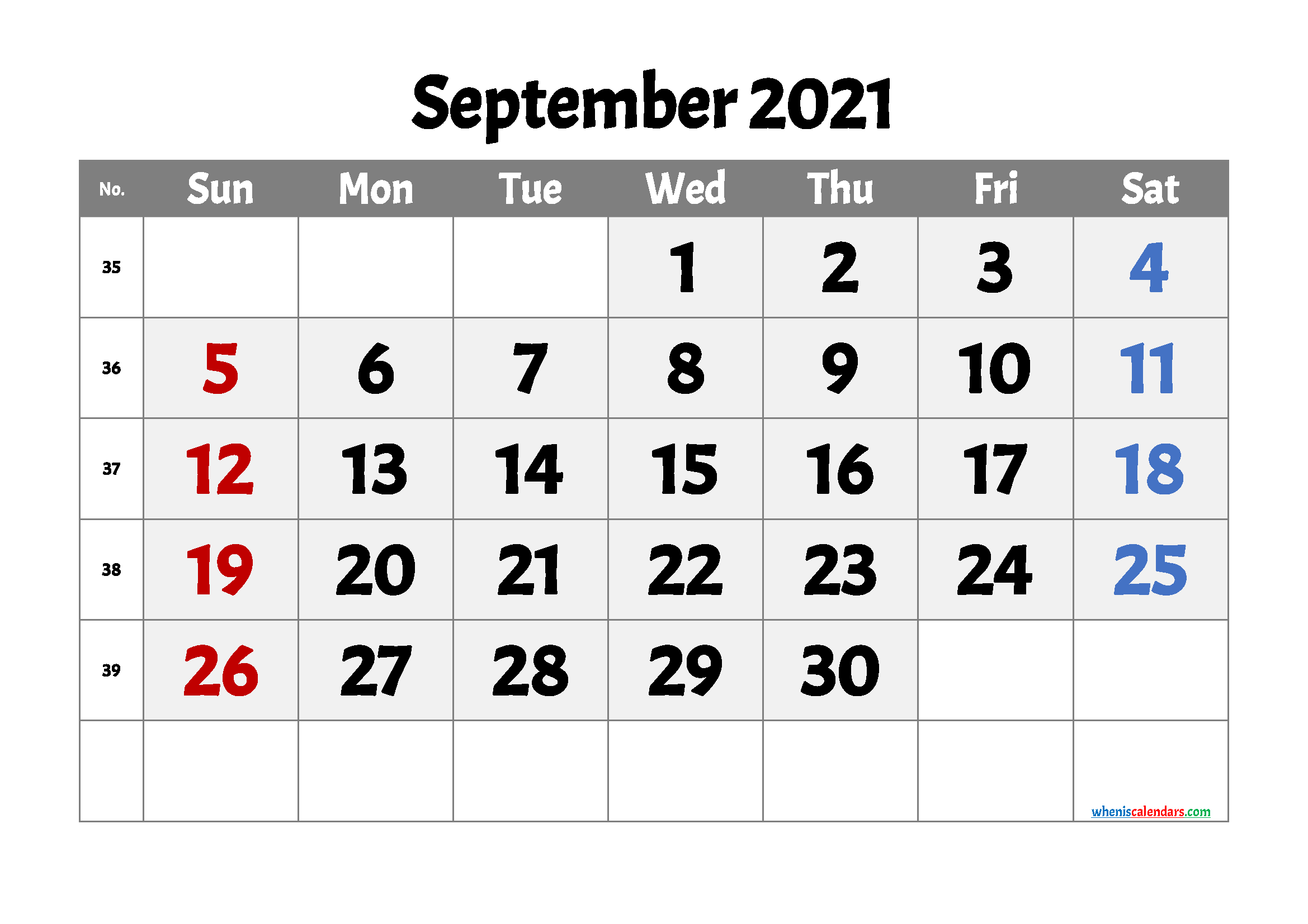 Printable September 2021 Calendar | Template M21Acme3