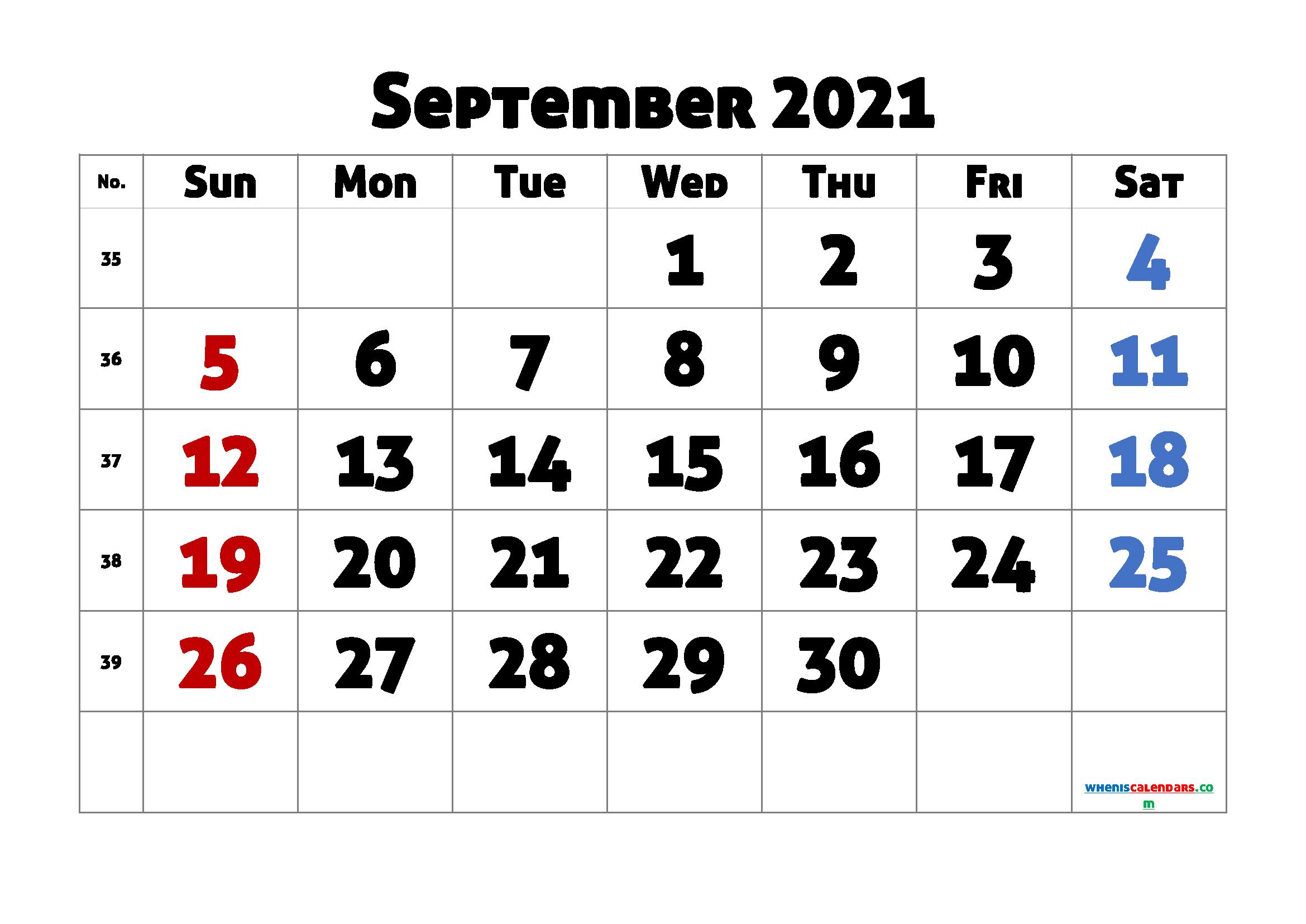 September 2021 Printable Calendar Free
