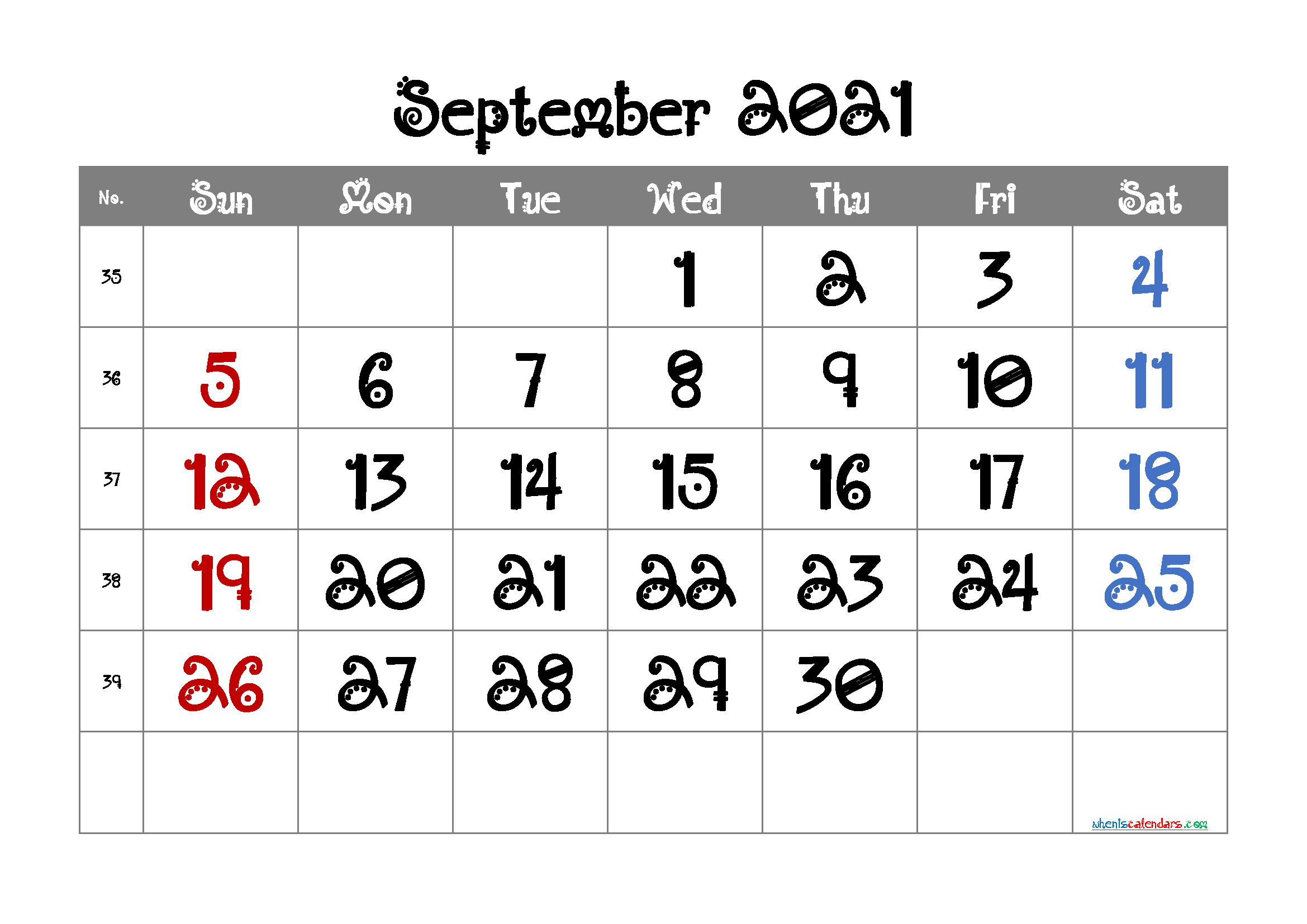 Editable September 2021 Calendar Free