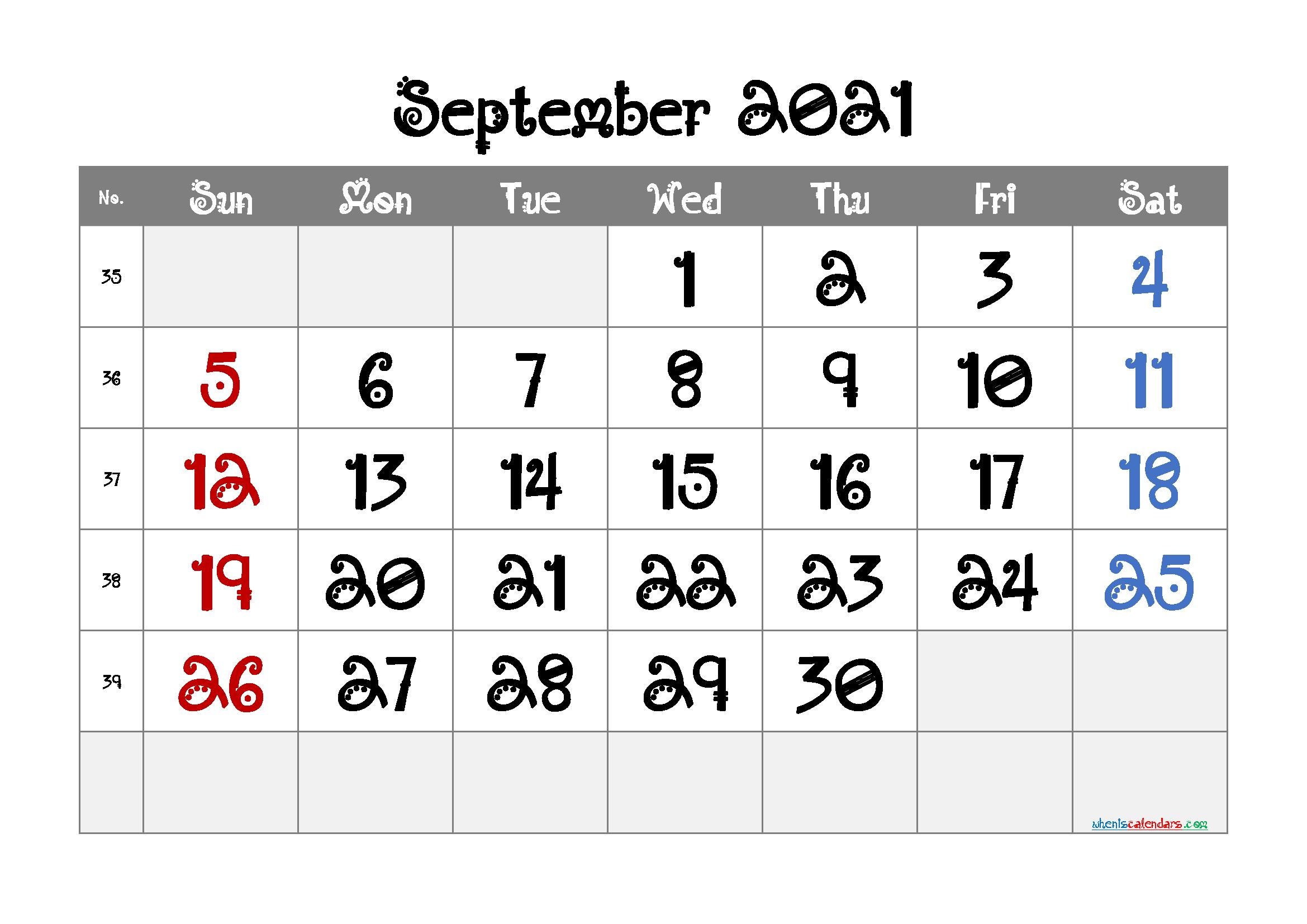 Printable September 2021 Calendar for Free