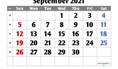 September 2021 Calendar Printable Free