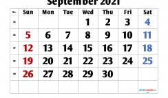 Calendar September 2021 Printable Free