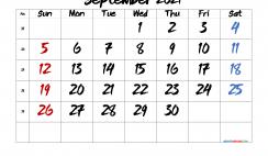 Free September 2021 Calendar Printable
