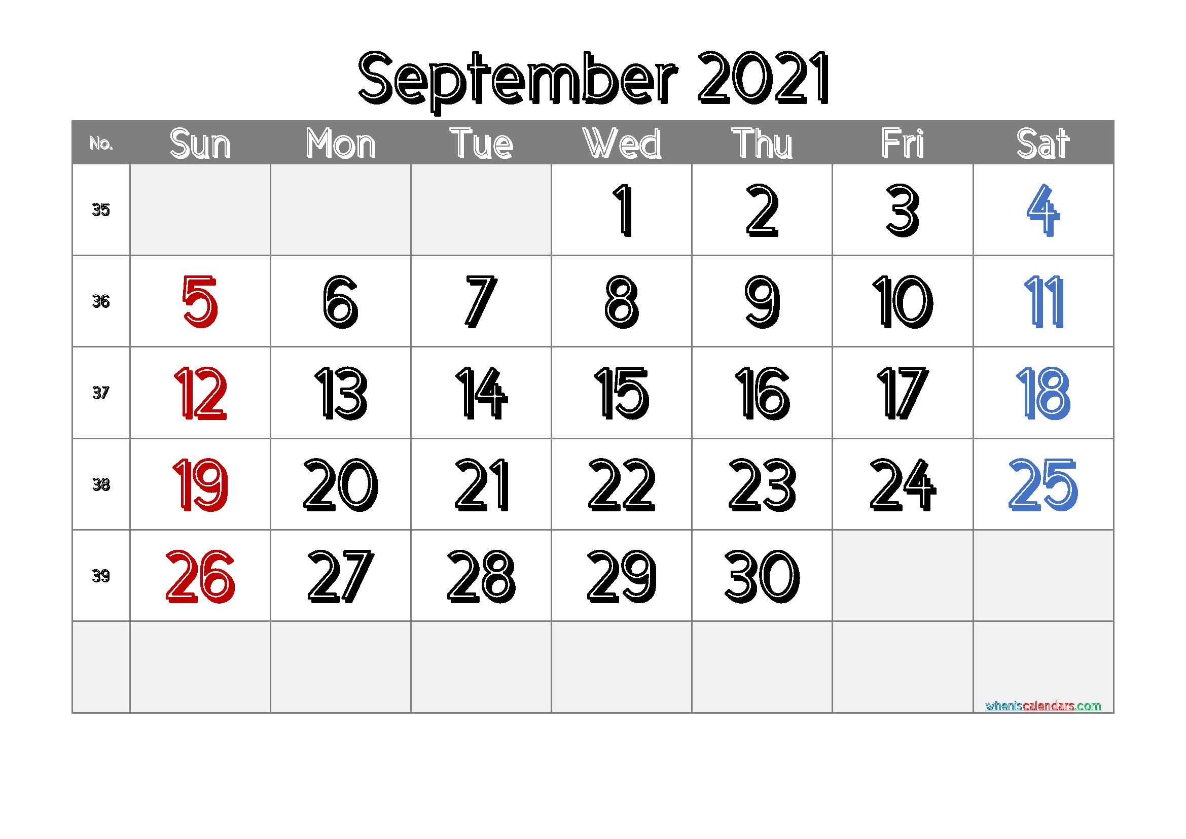 Printable September 2021 Calendar Free