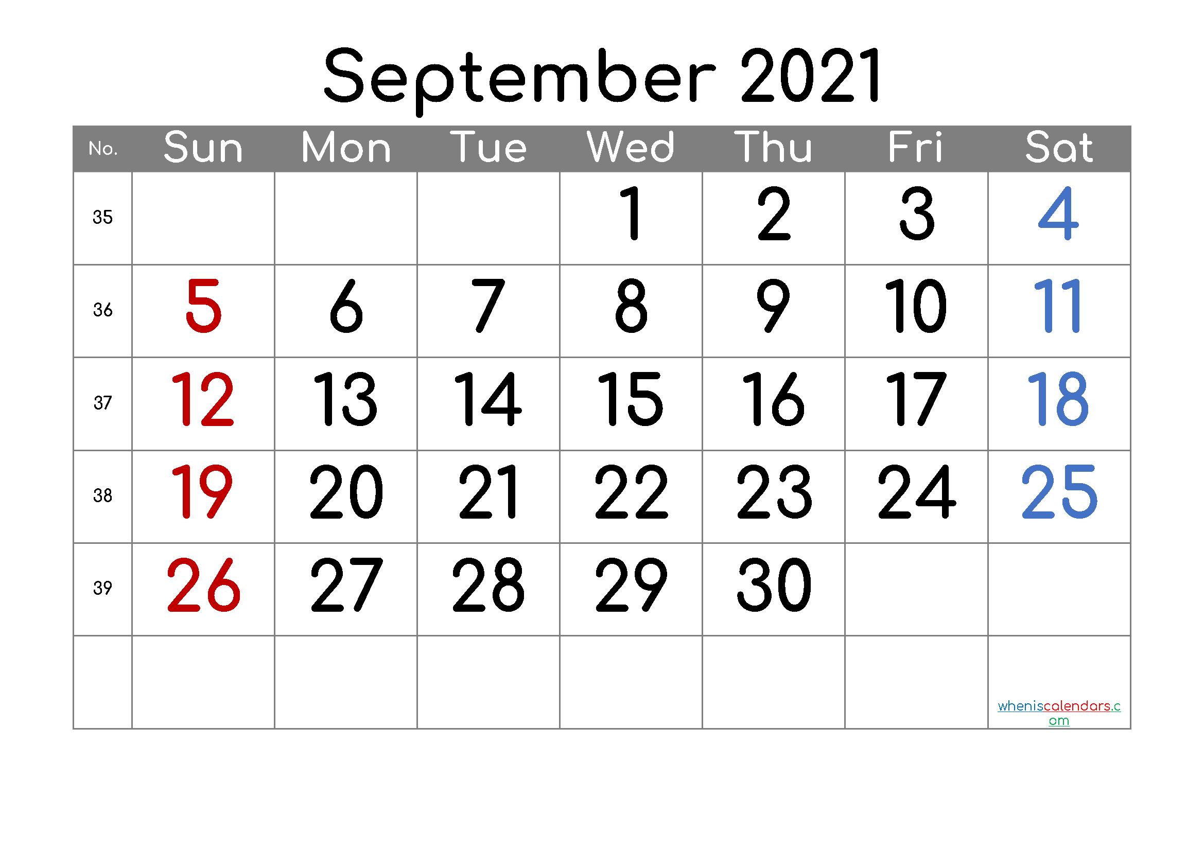 Calendar September 2021 Free Printable