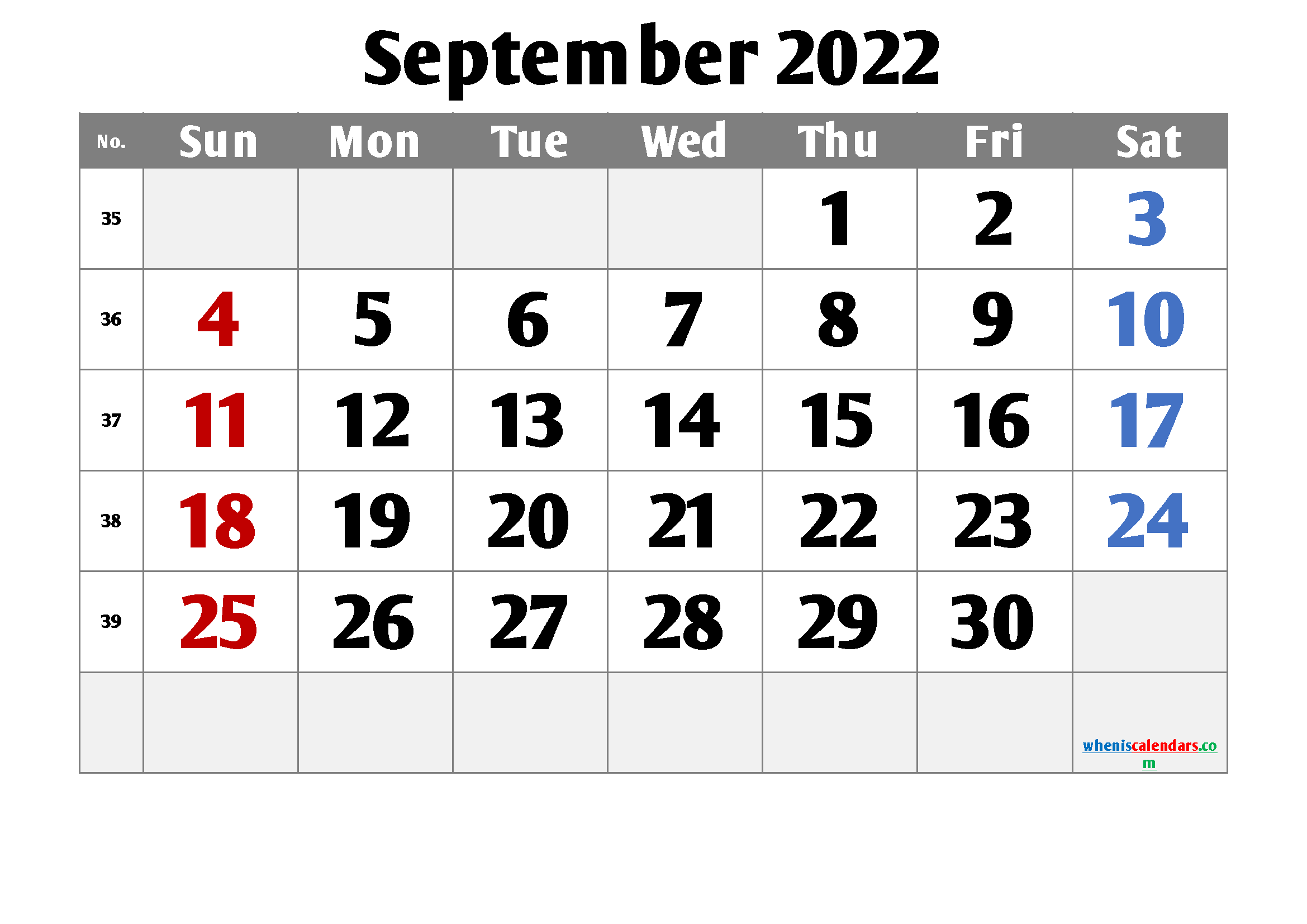 Printable September 2022 Calendar Free