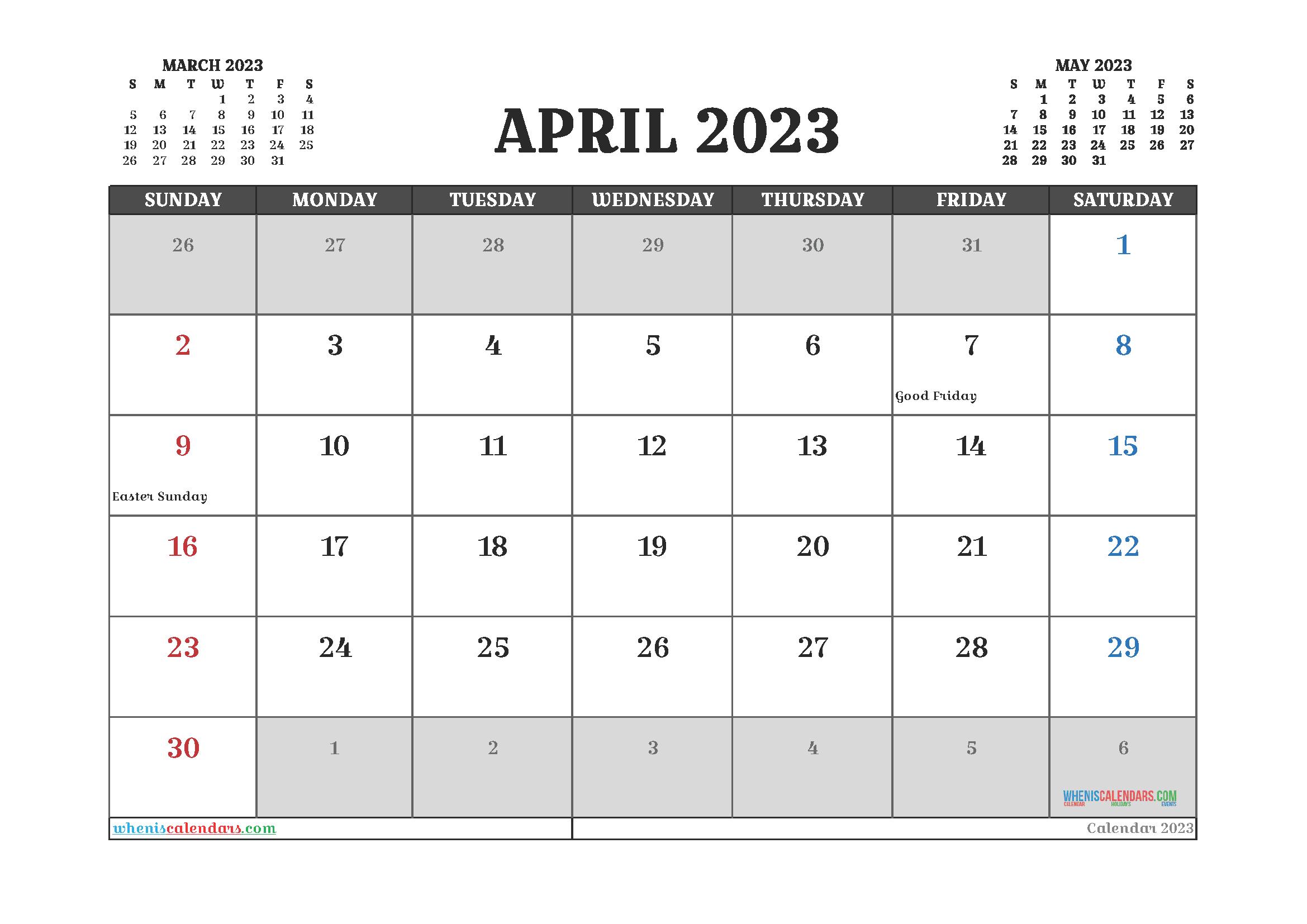 Printable April 2023 Calendar Free
