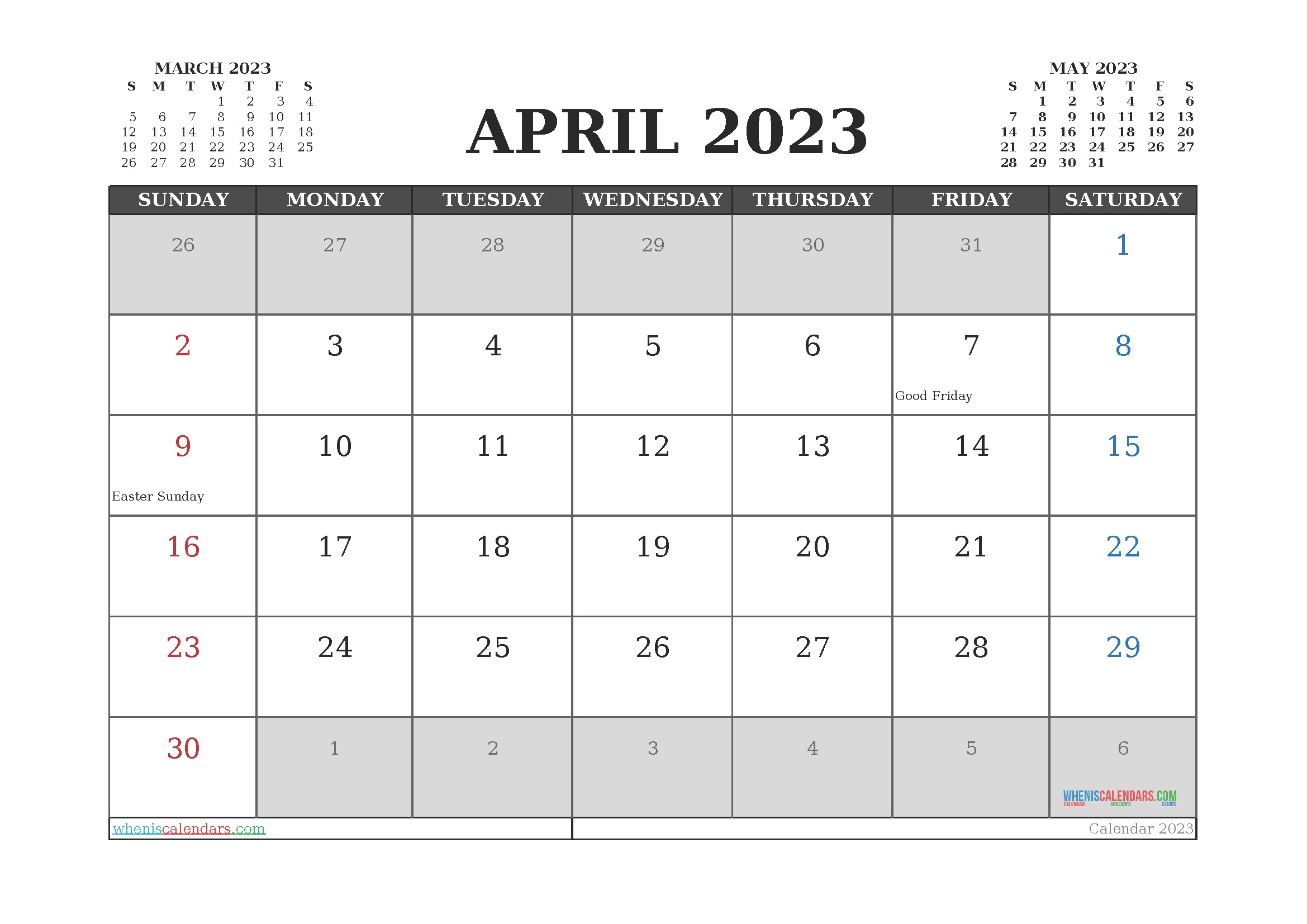 April 2023 Free Calendar Printable