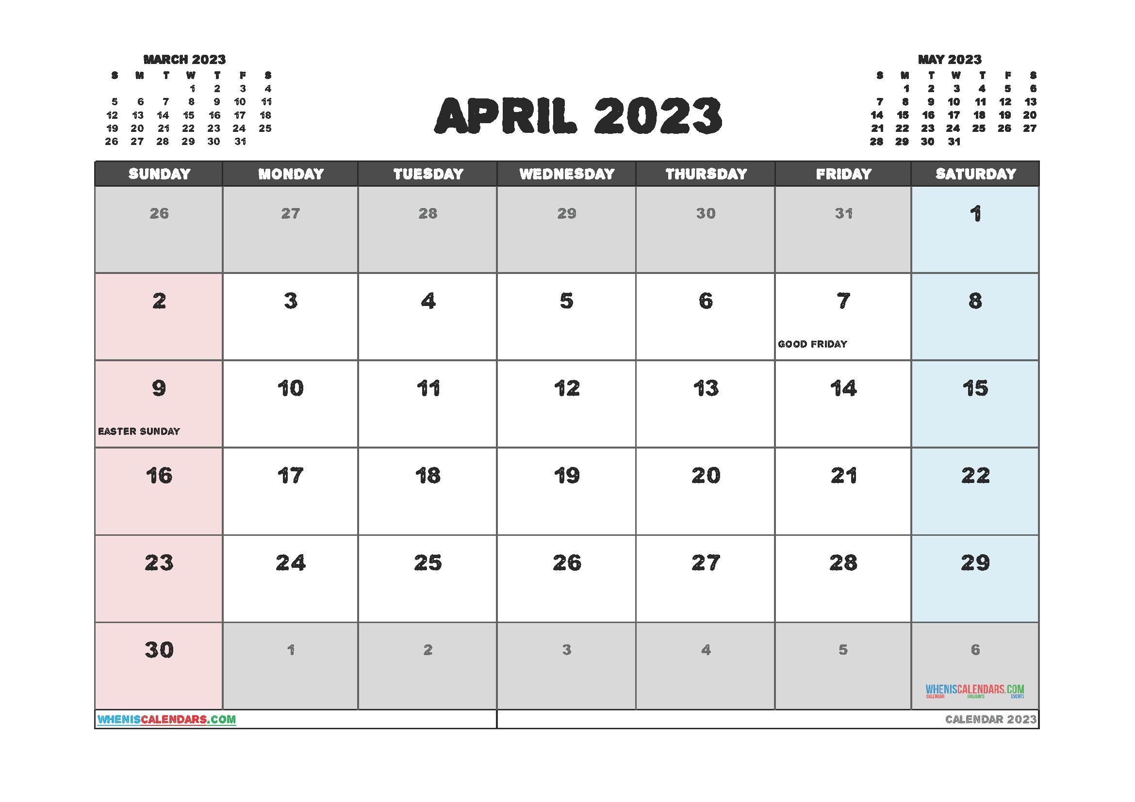 Printable Calendar April 2023 Free