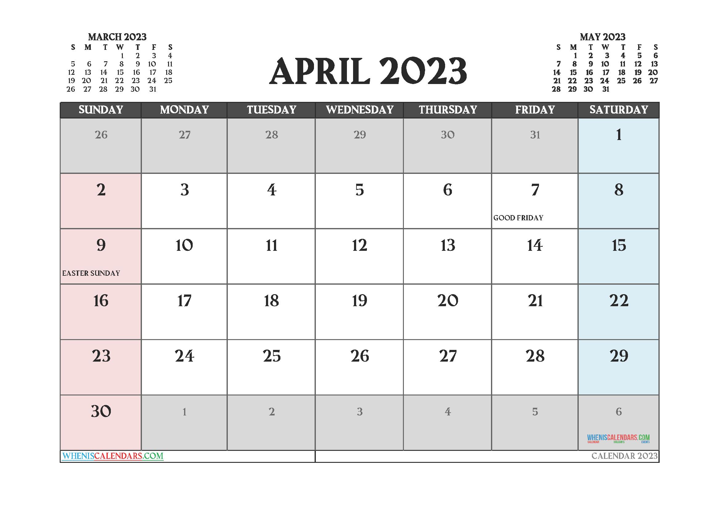 Free April 2023 Printable Calendar PDF