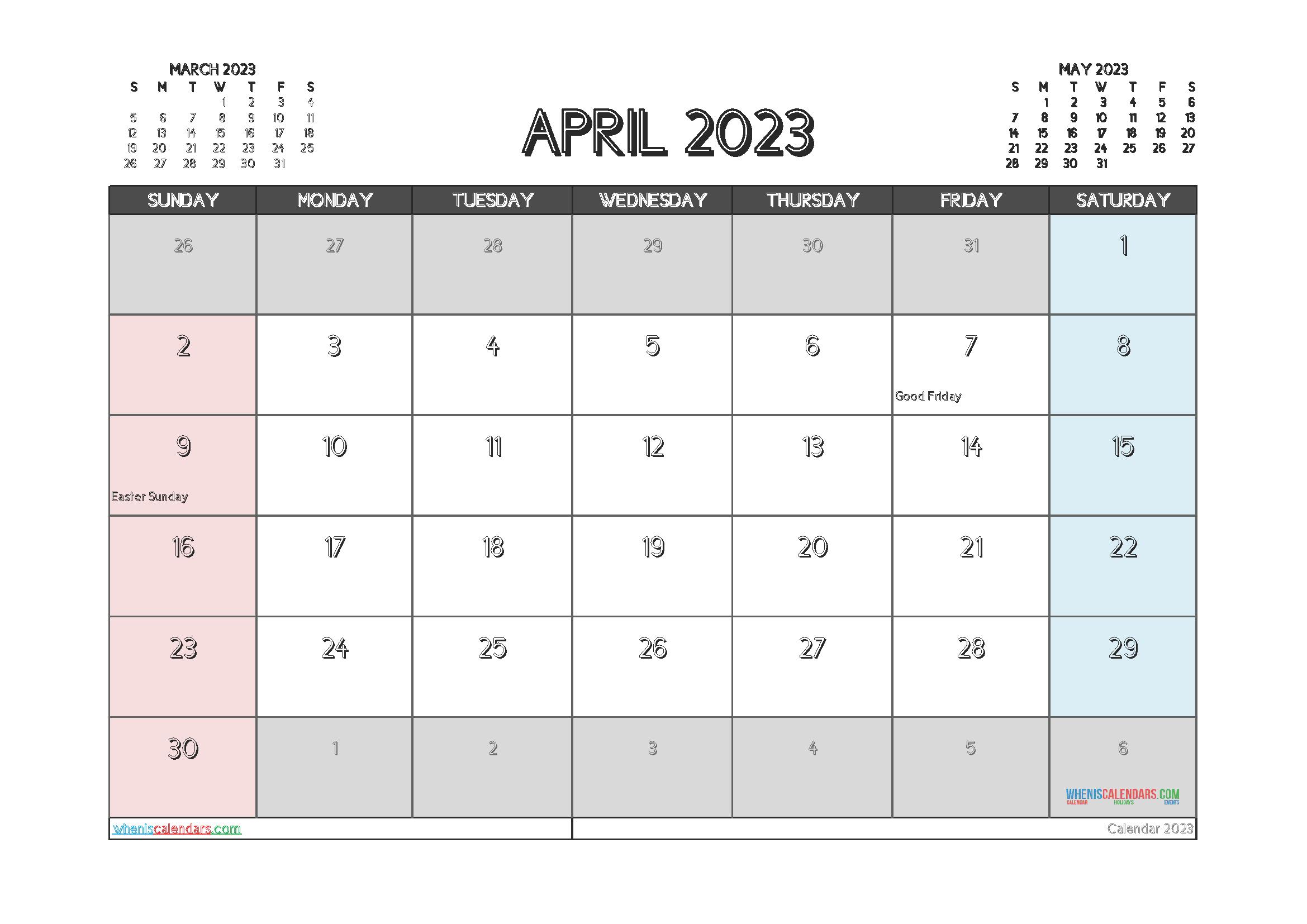 Free April 2023 Printable Calendar