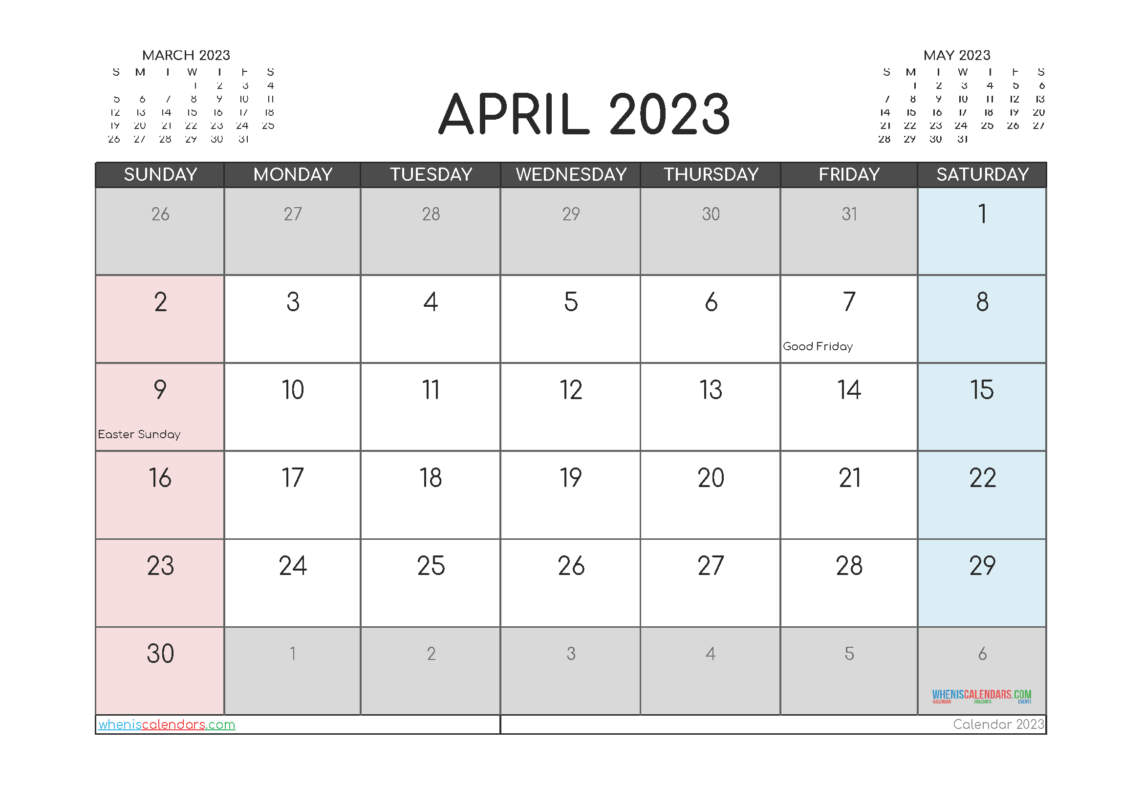 April 2023 Calendar Printable Free