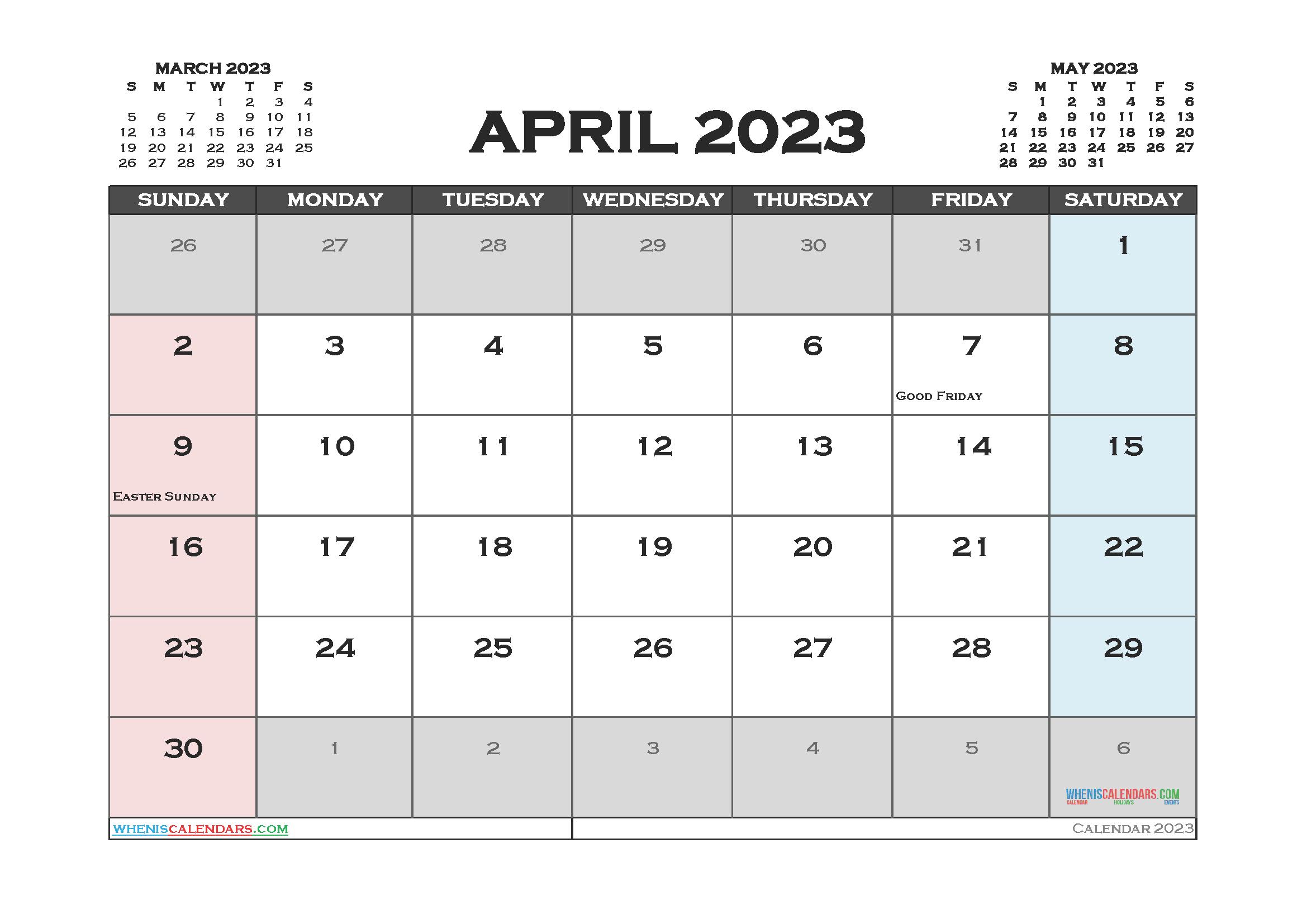 April 2023 Calendar Printable For Free