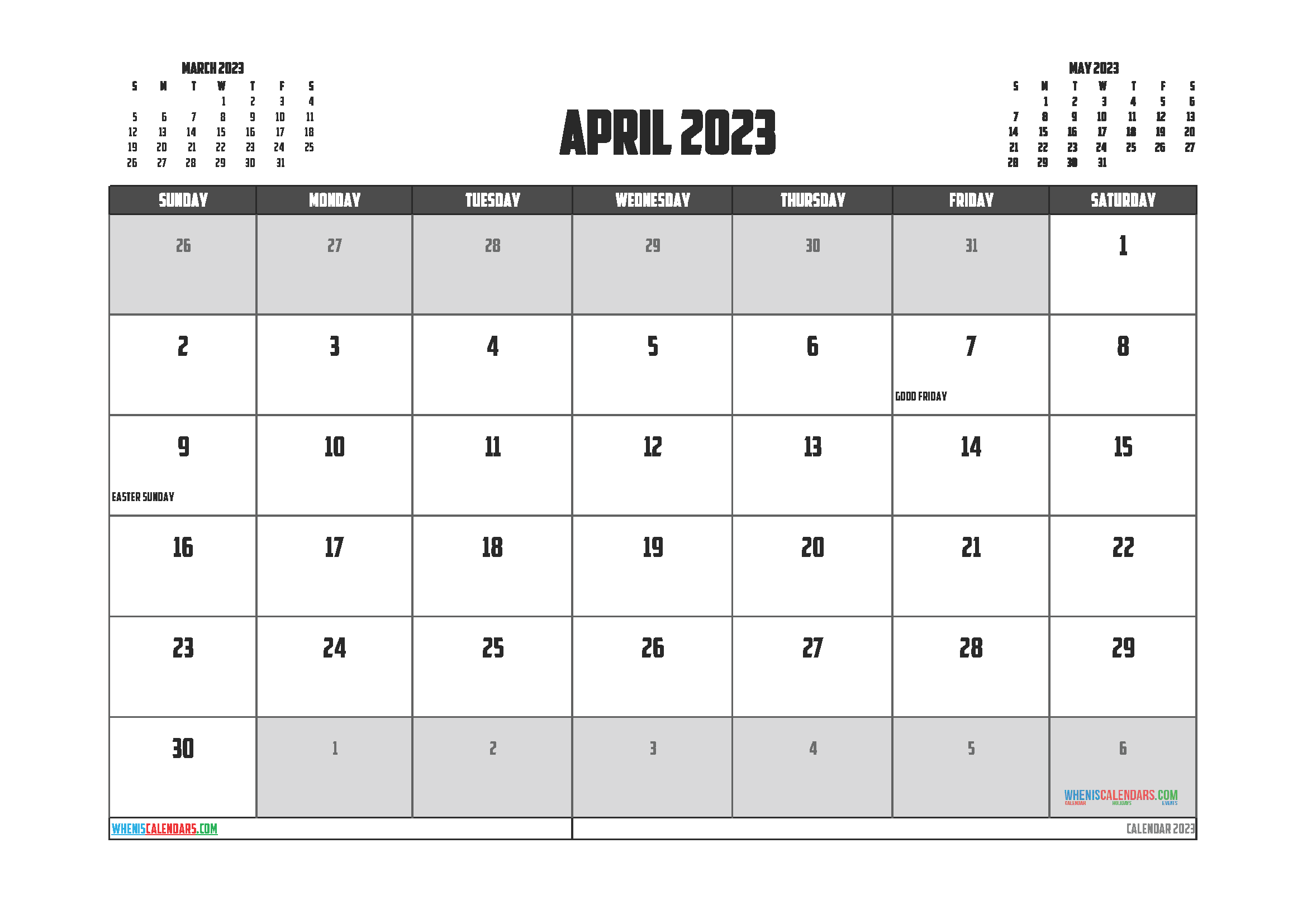 April 2023 Calendar Printable For Free