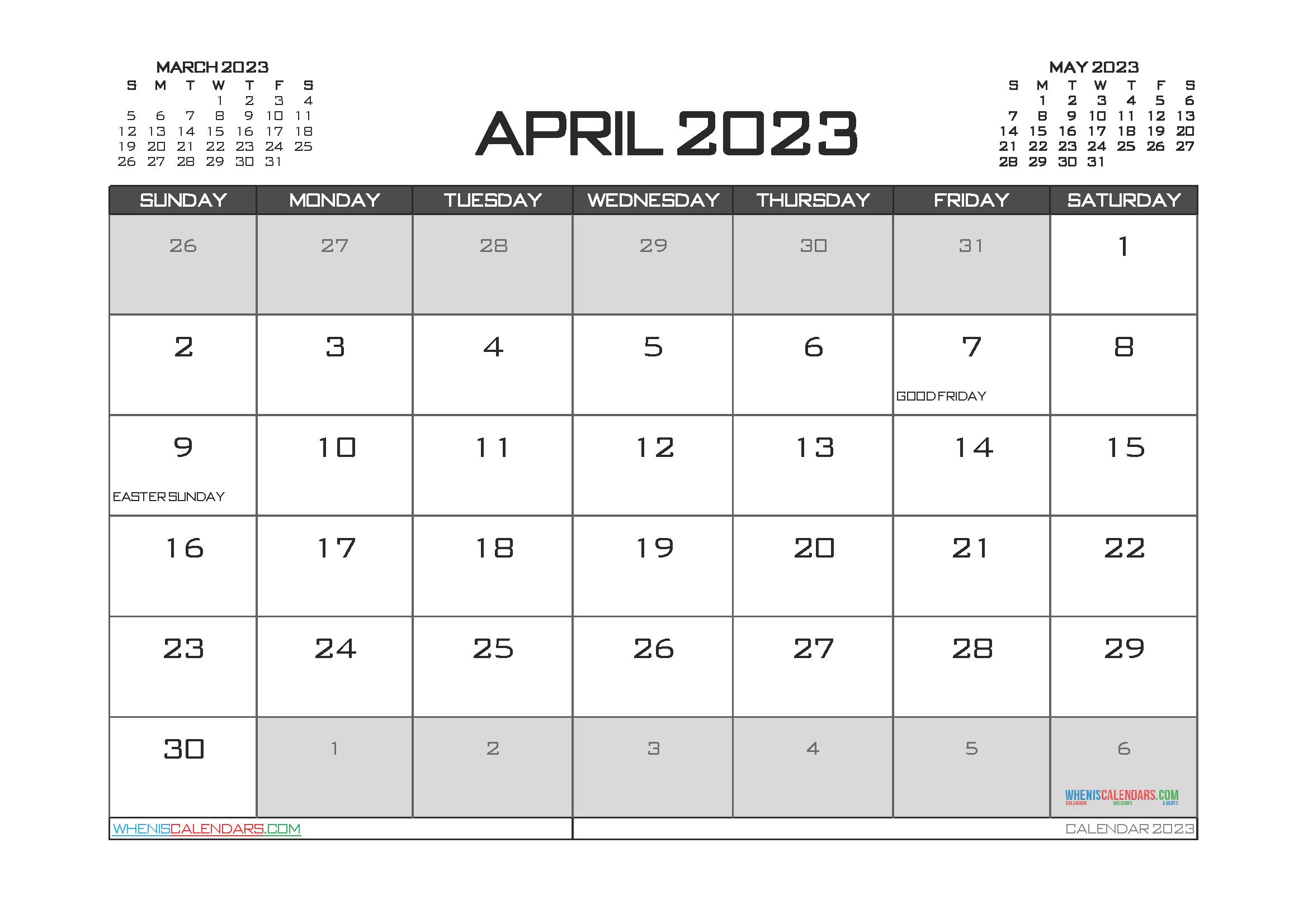 Editable Printable April 2023 Calendar