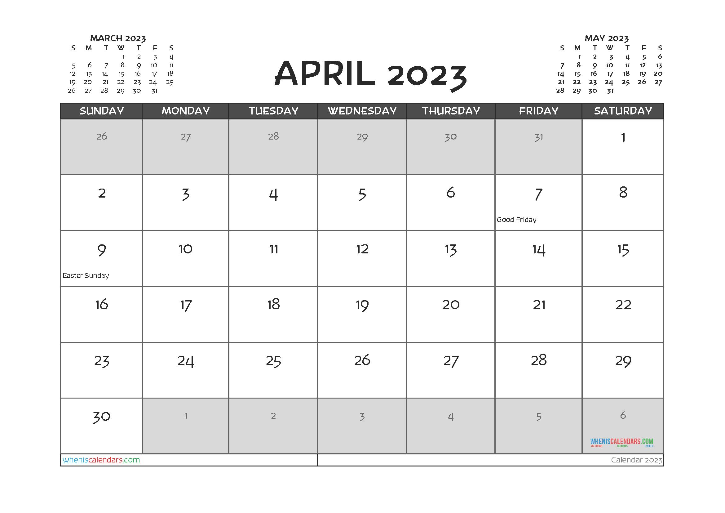 Free Editable April 2023 Calendar