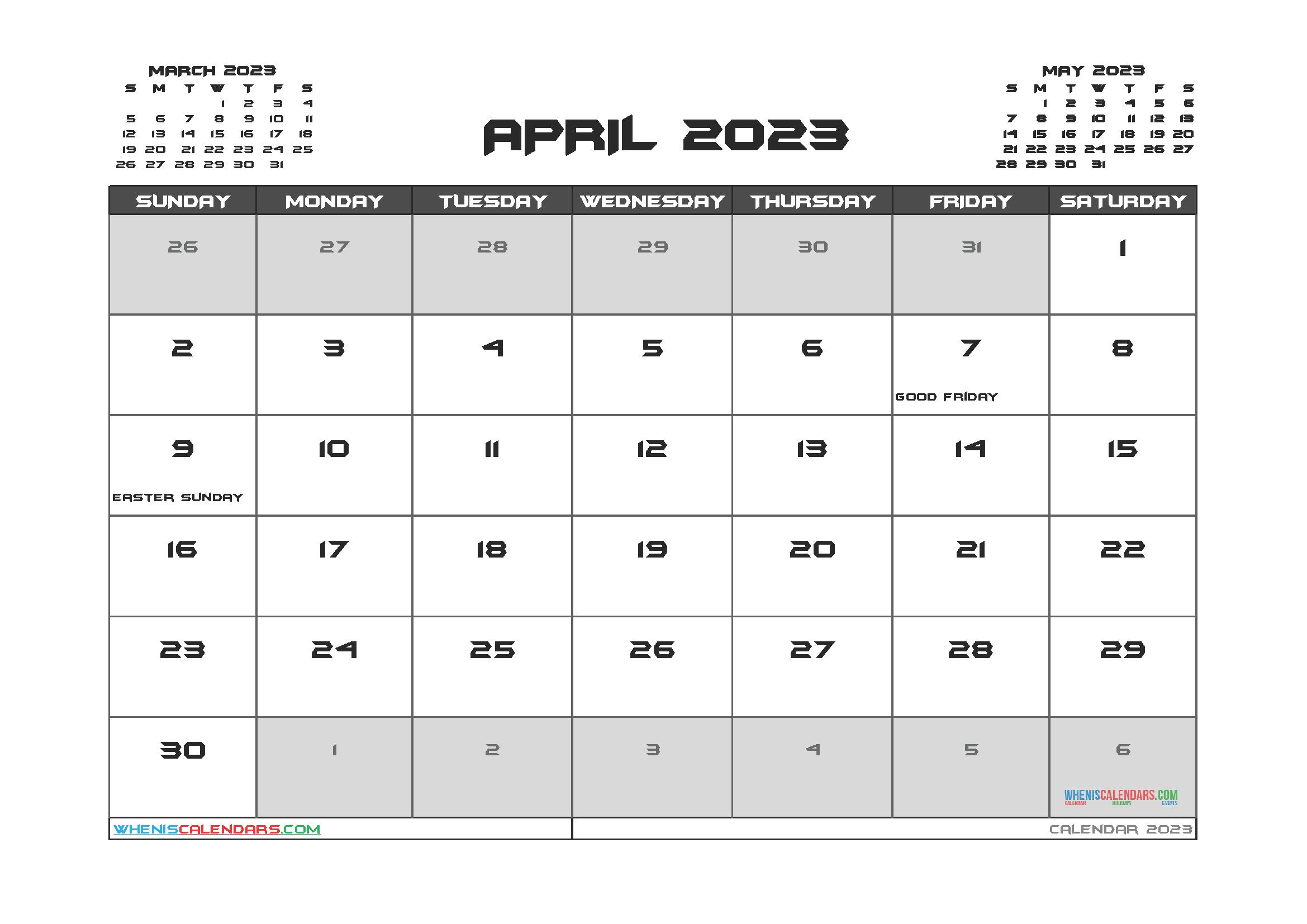 Editable April 2023 Calendar Printable