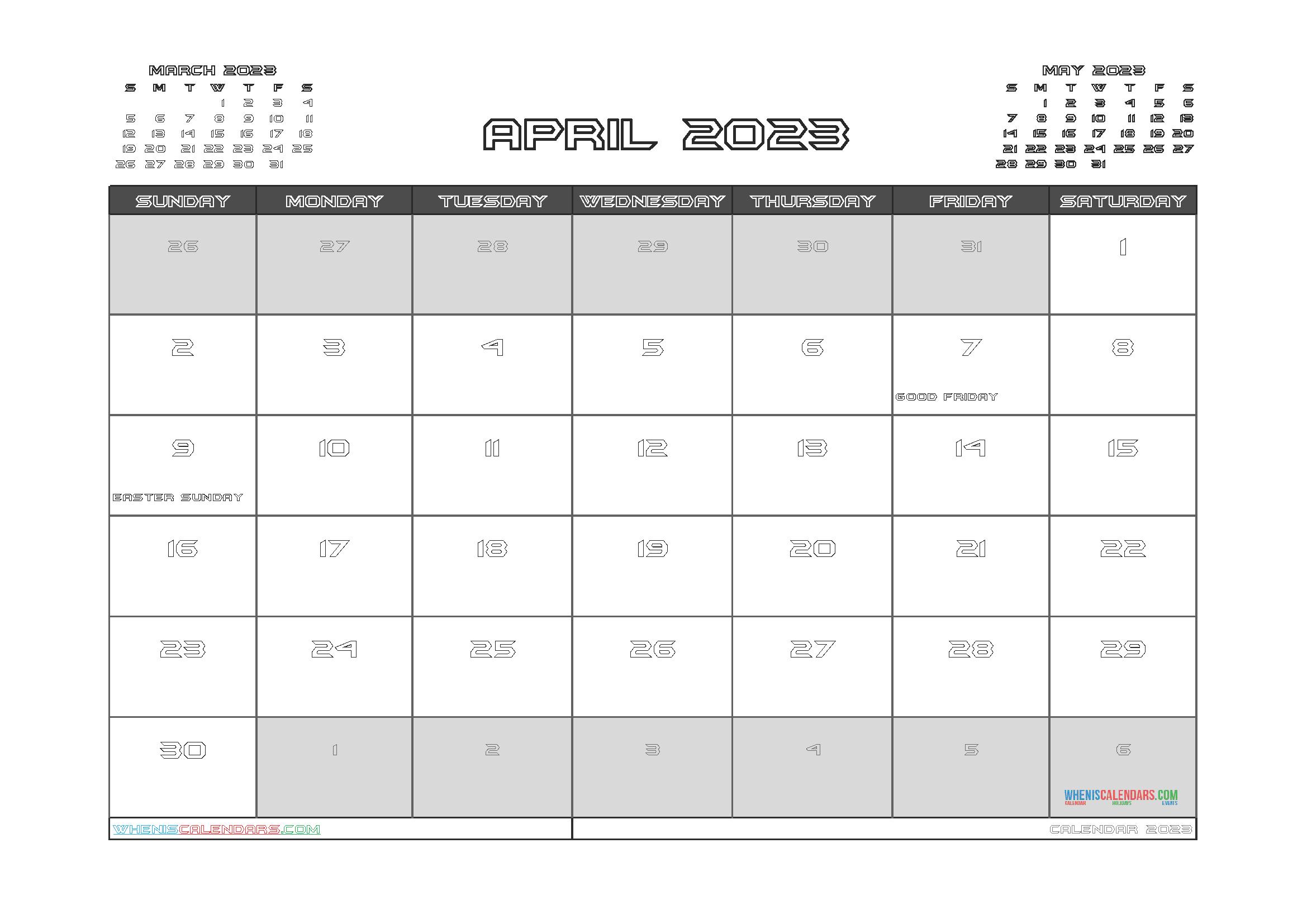 Free Editable Calendar April 2023 PDF