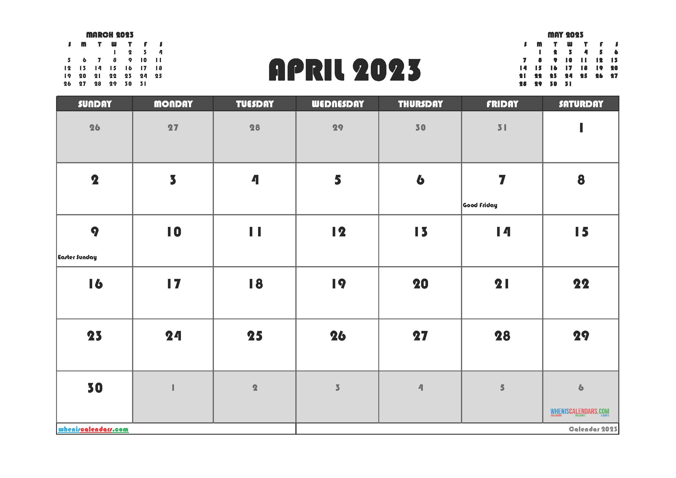 Free Editable April 2023 Printable Calendar