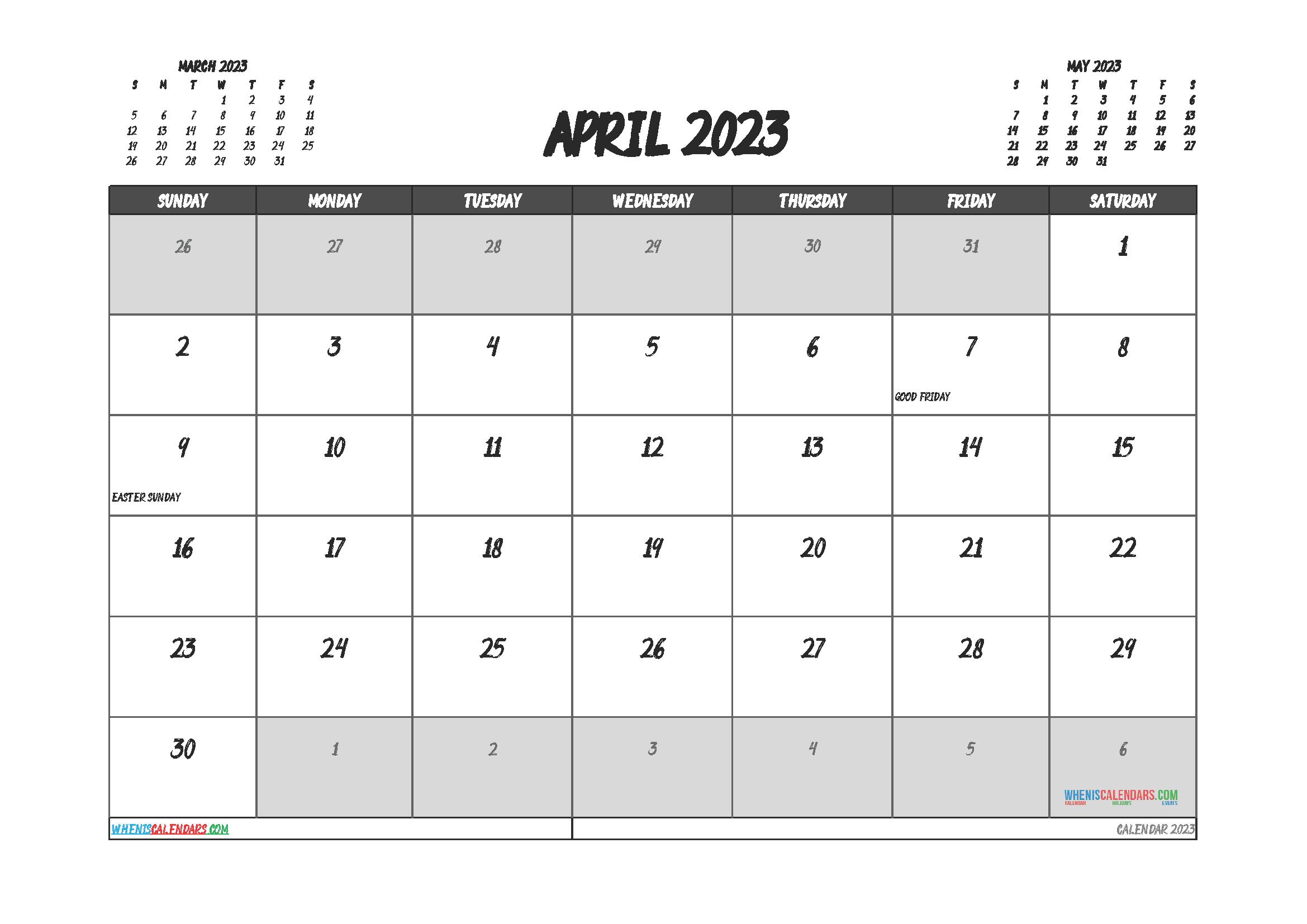 Free Printable Calendar April 2023