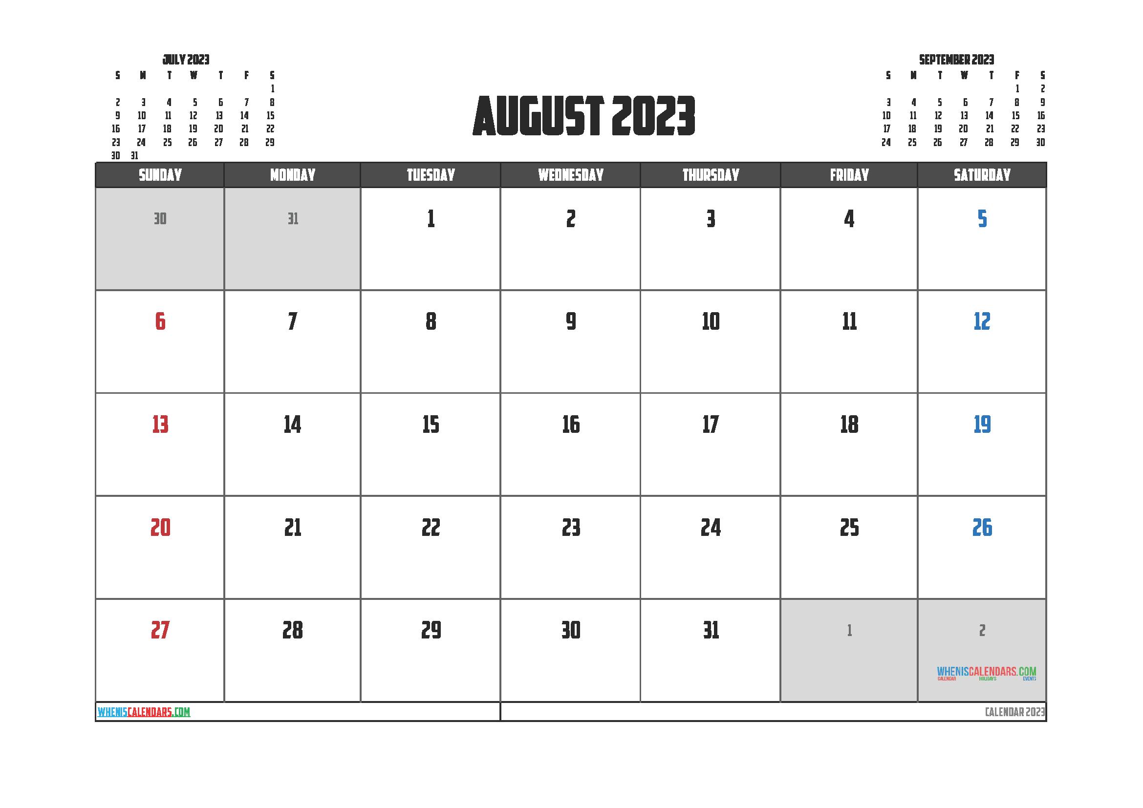 August 2023 Free Calendar Printable