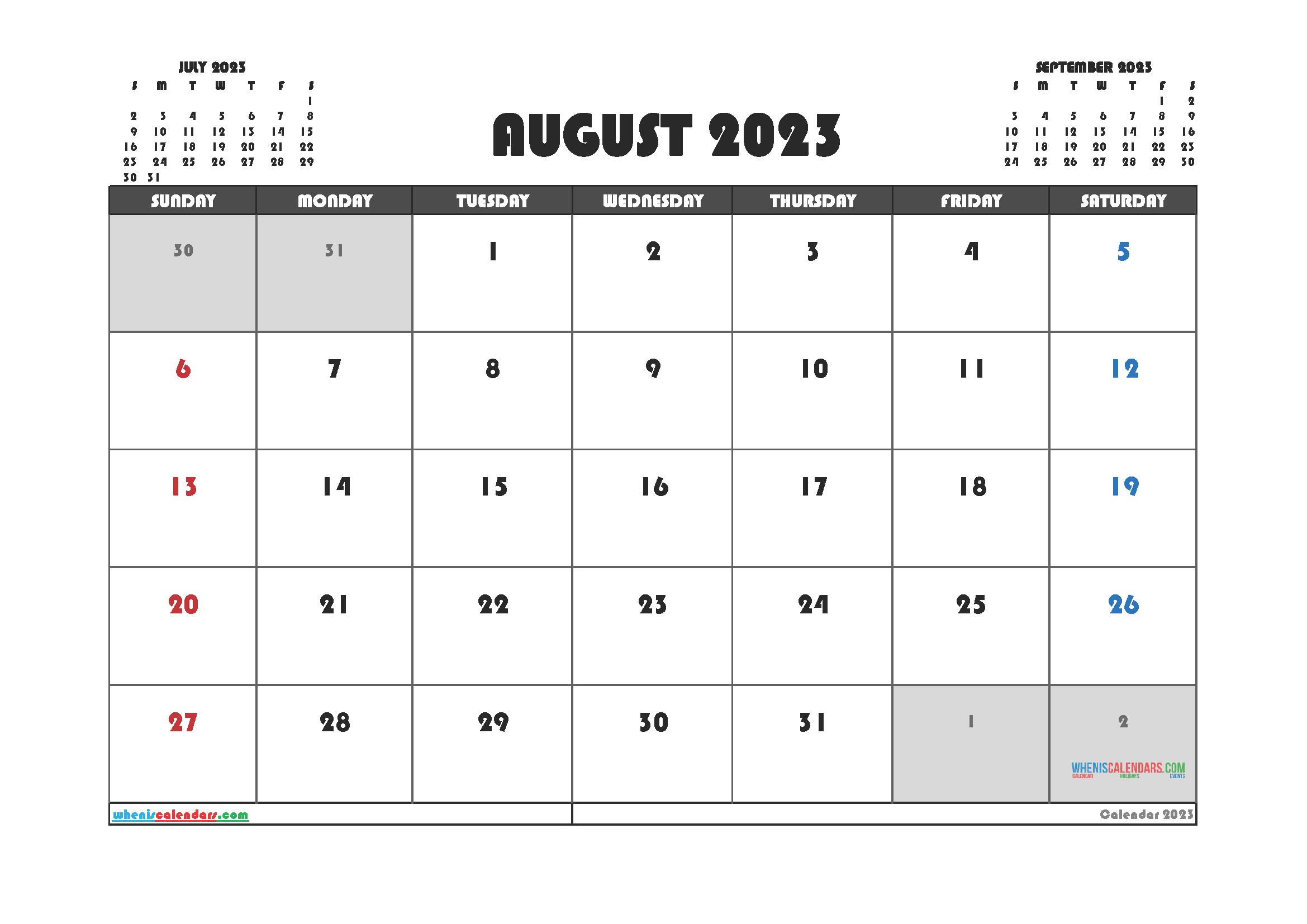 Free August 2023 Printable Calendar PDF