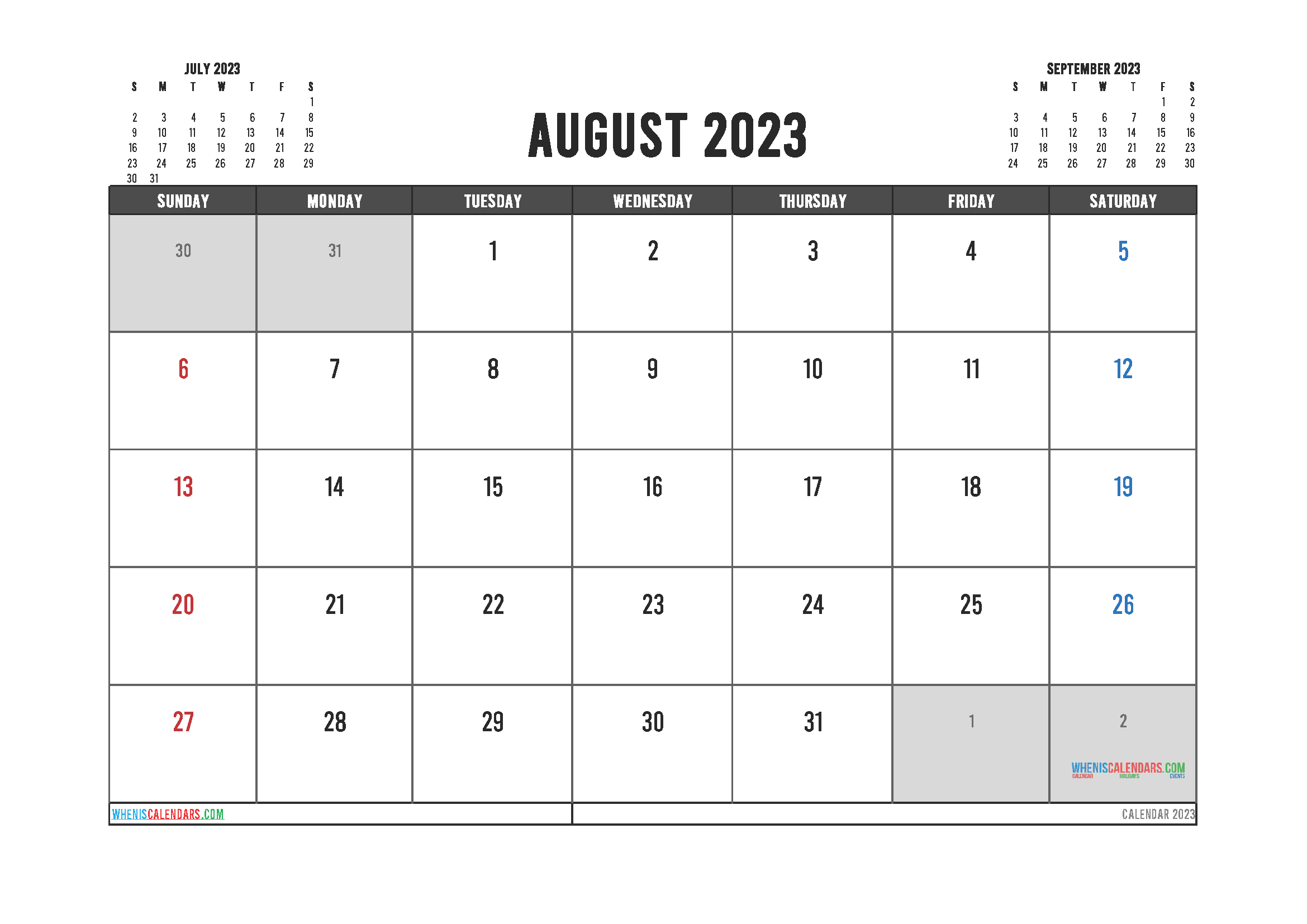 Editable Printable August 2023 Calendar