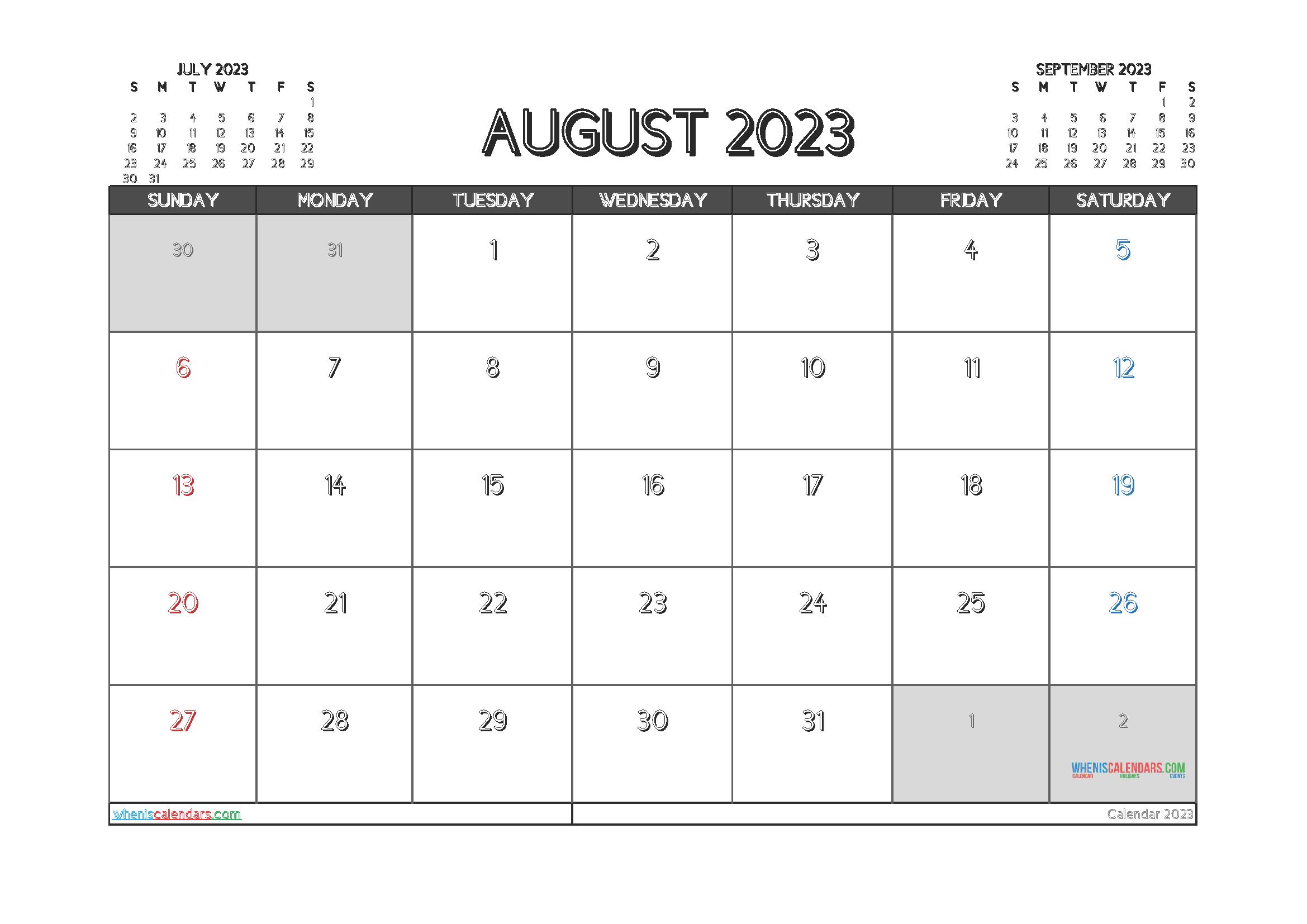 Printable August 2023 Calendar Free