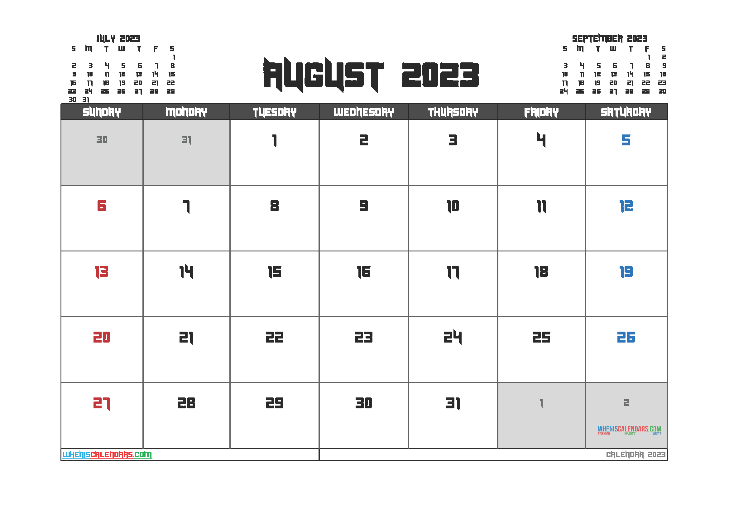 Free Printable Calendar August 2023