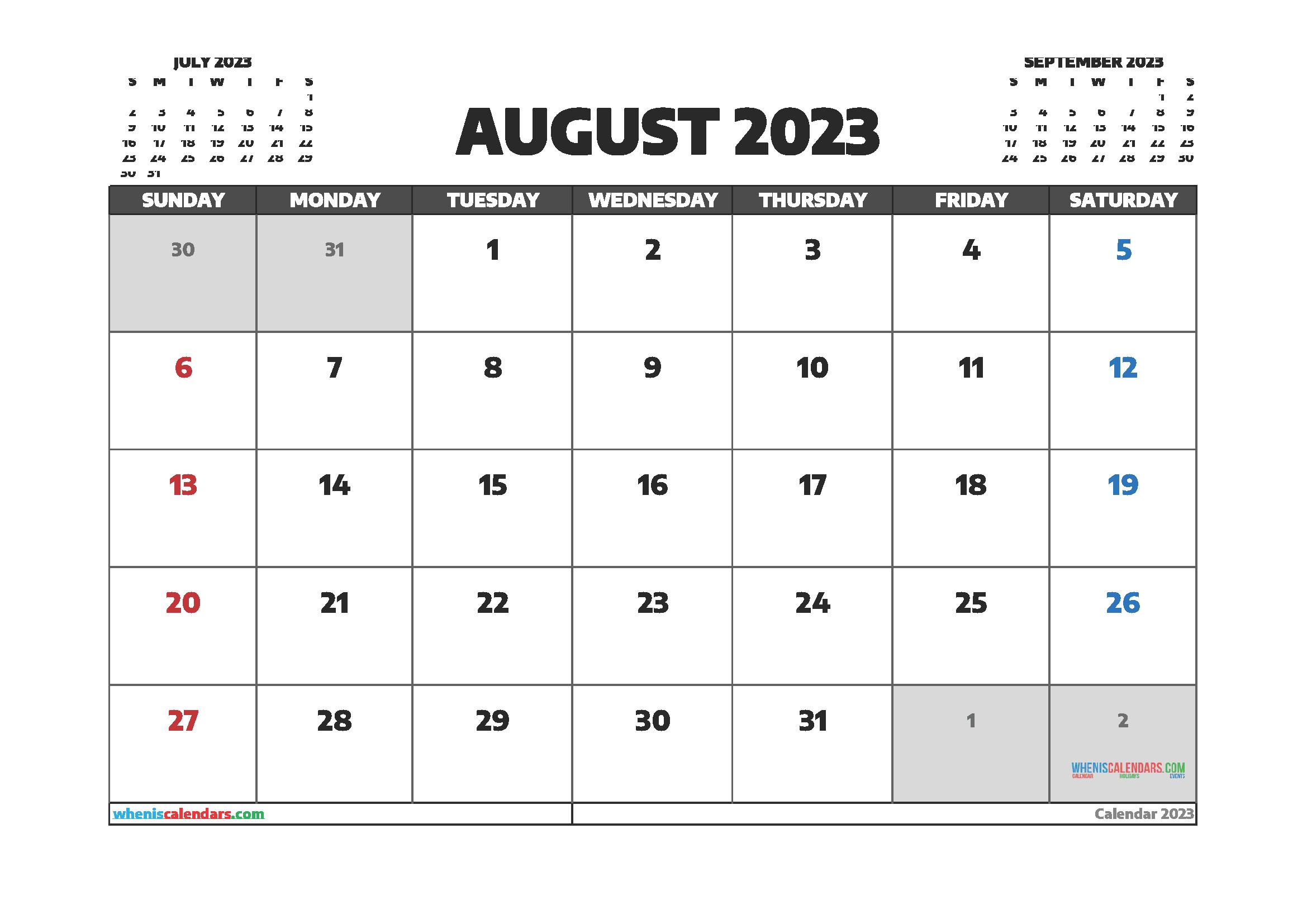 August 2023 Calendar Printable Free
