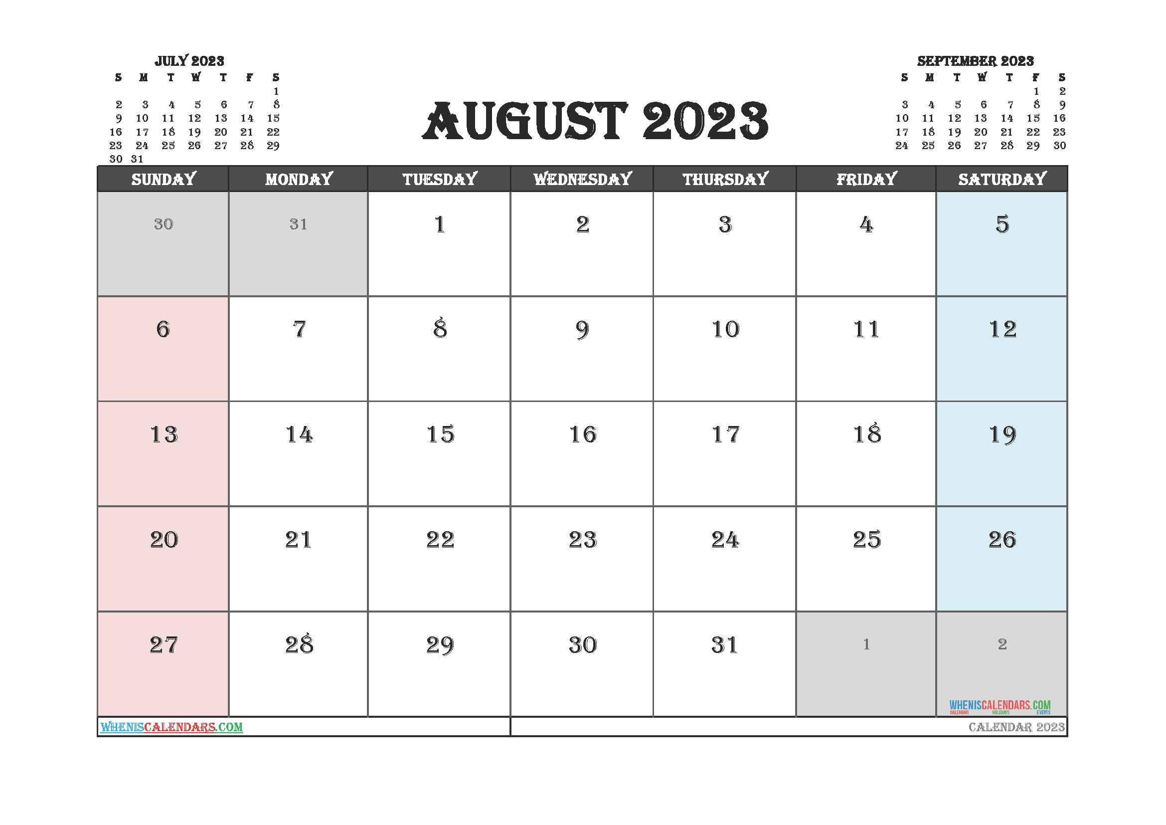 August 2023 Calendar Printable For Free