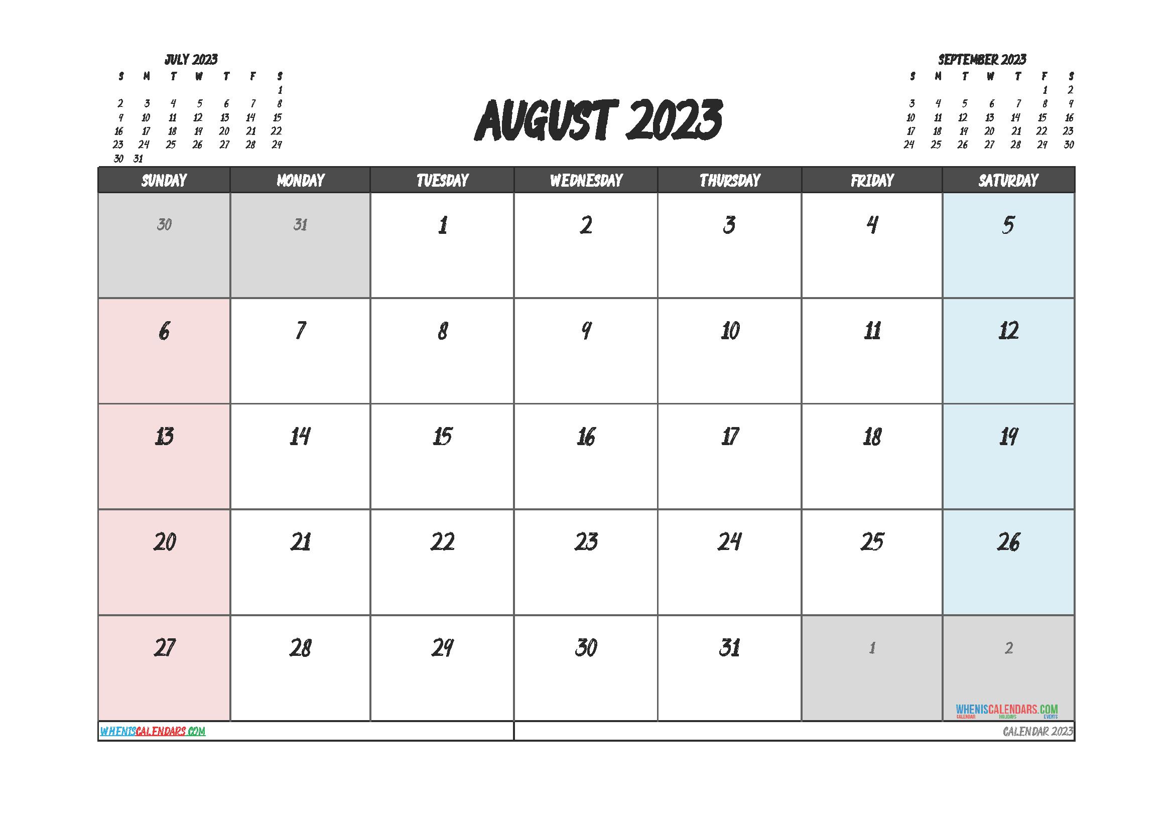 Printable Calendar August 2023 Free