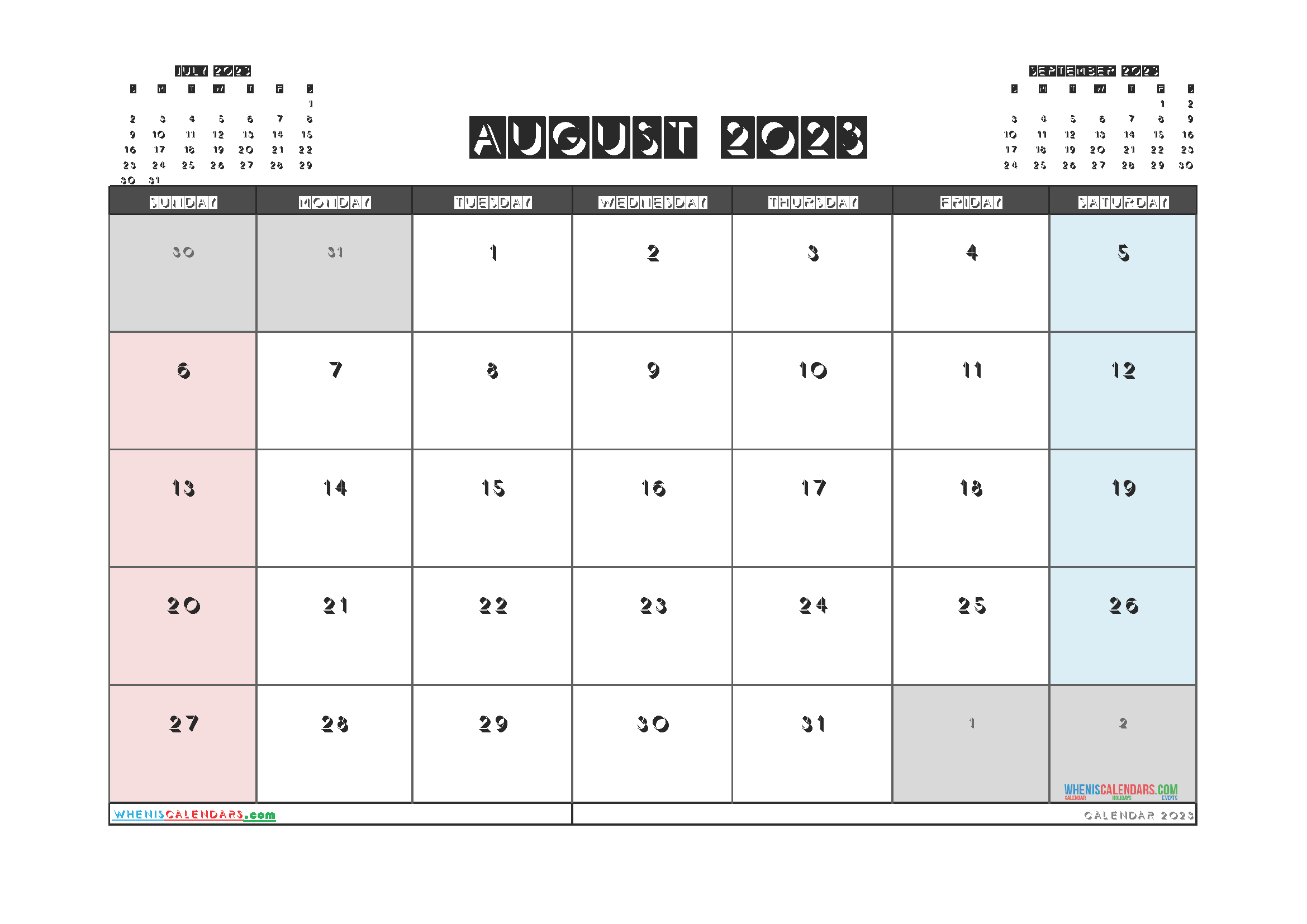 Free Editable August 2023 Calendar