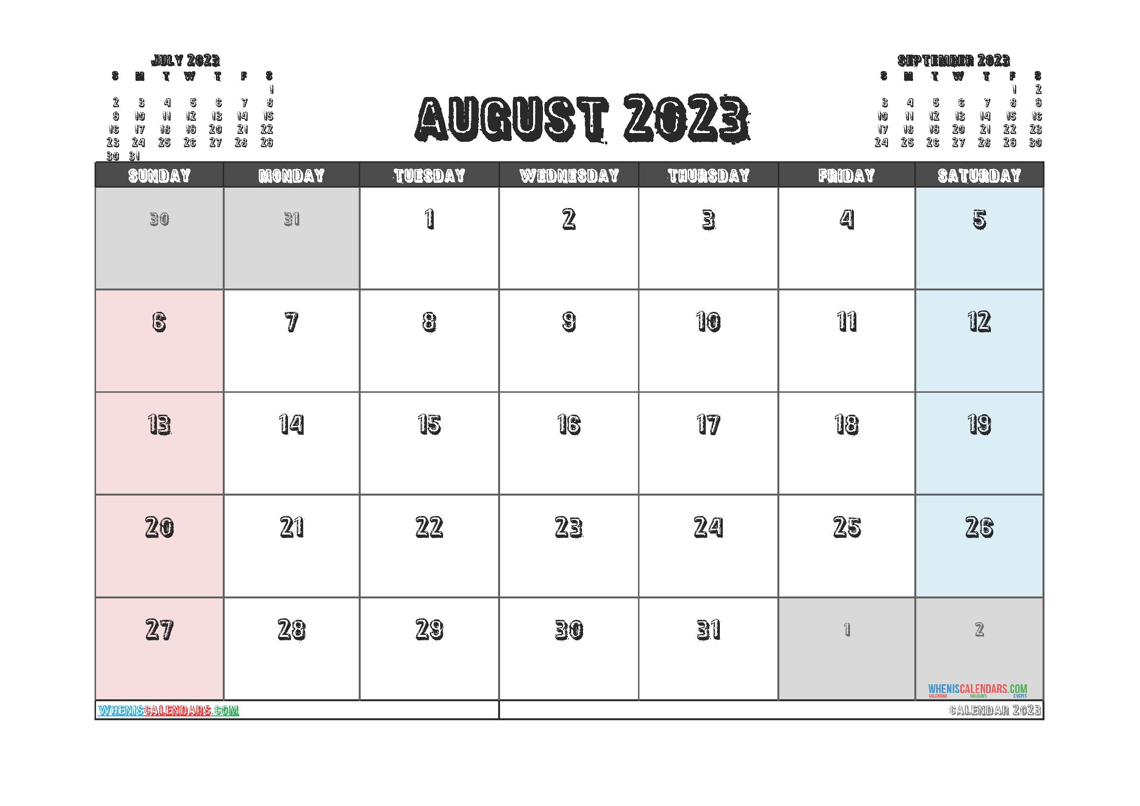 Editable August 2023 Calendar Printable