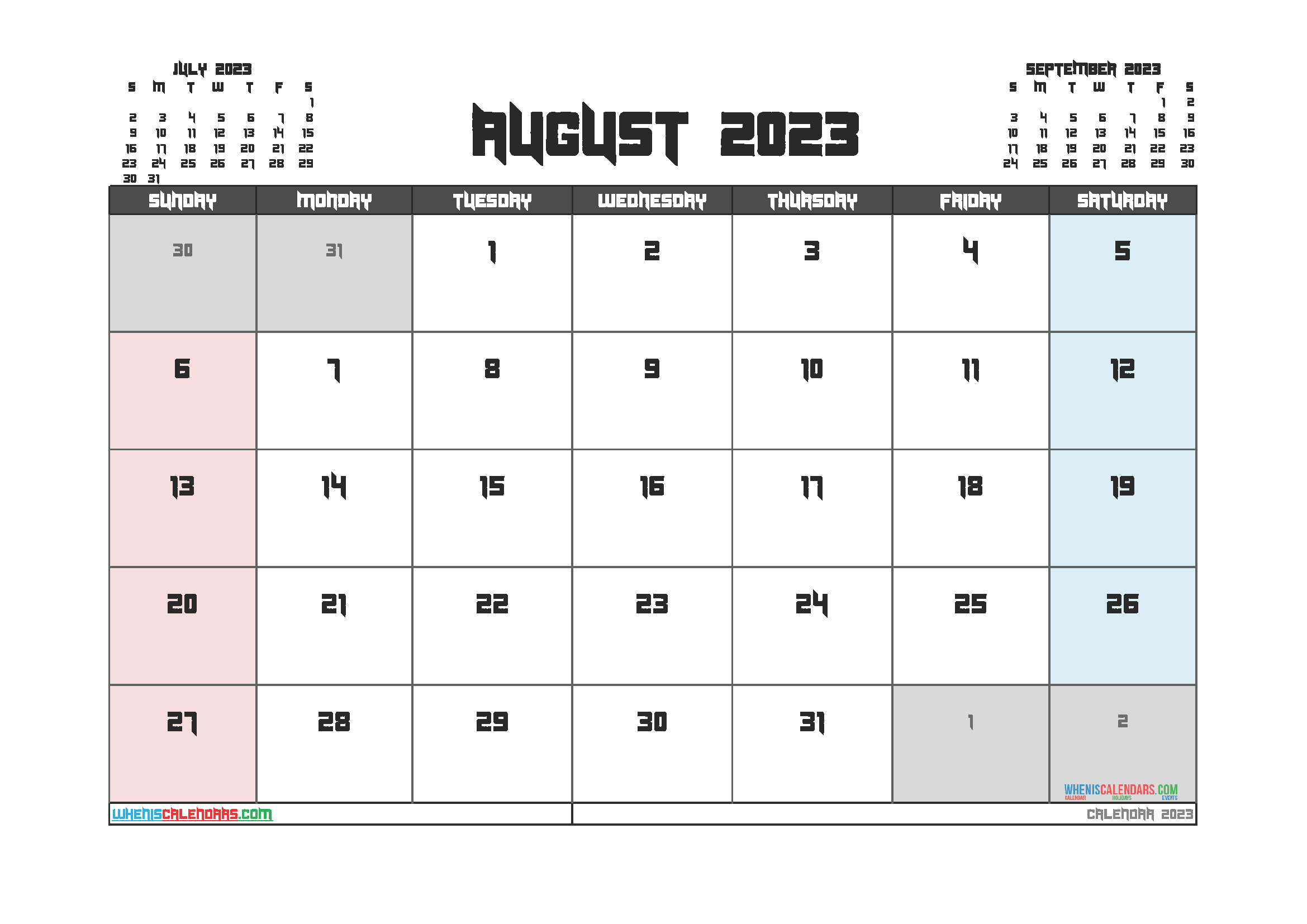 Free Editable Calendar August 2023 PDF