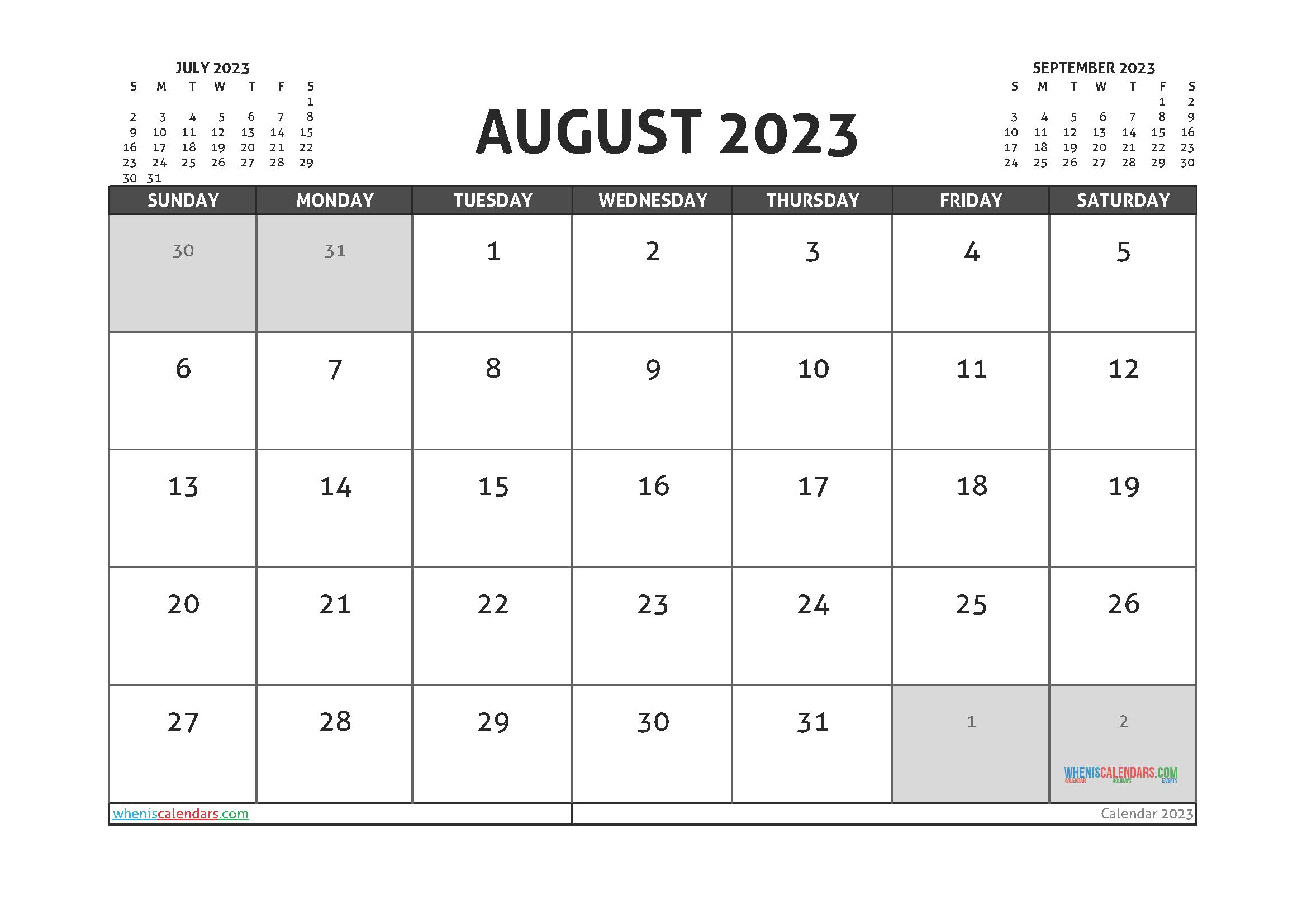 Free August 2023 Printable Calendar