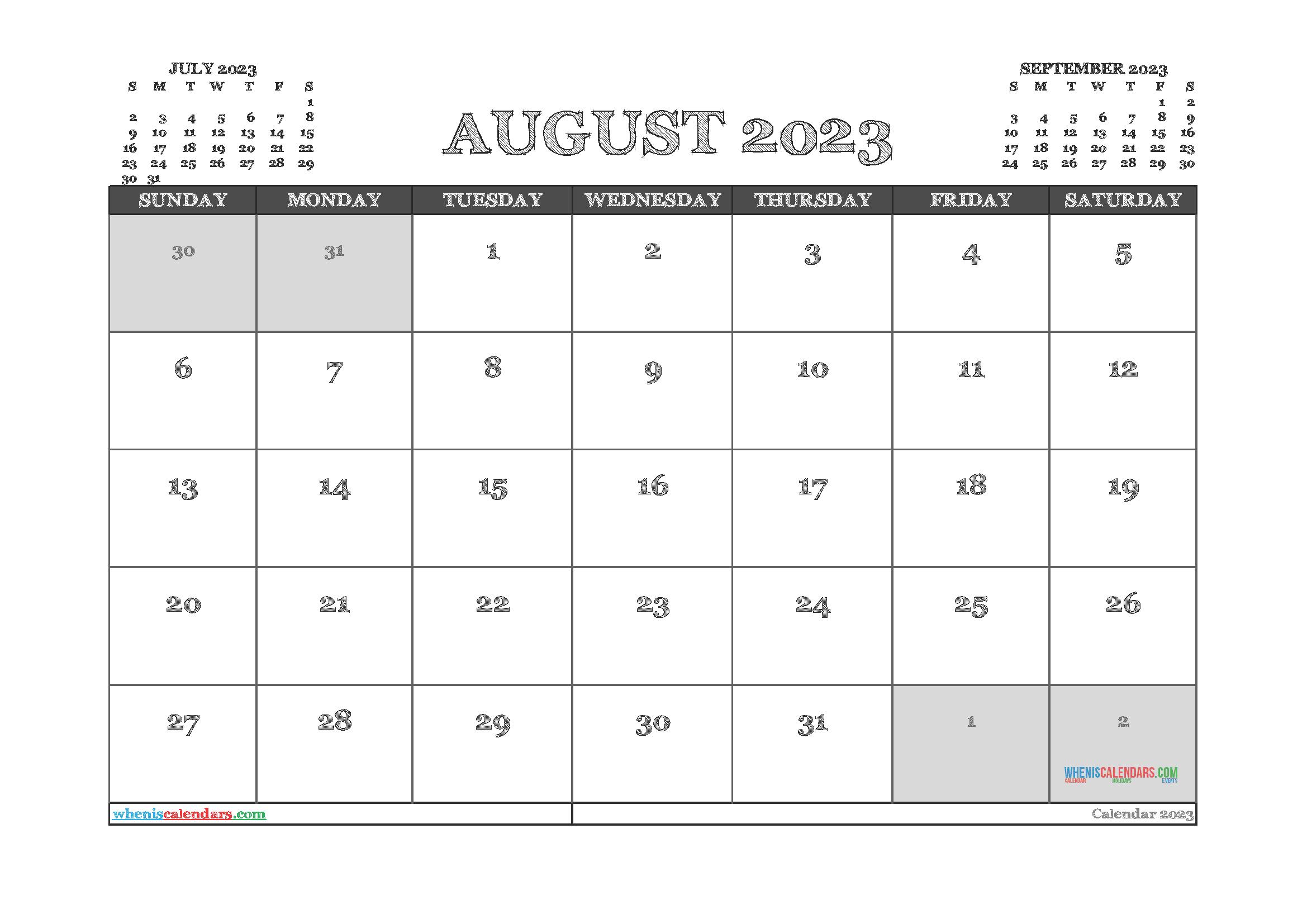 Printable August 2023 Calendar PDF