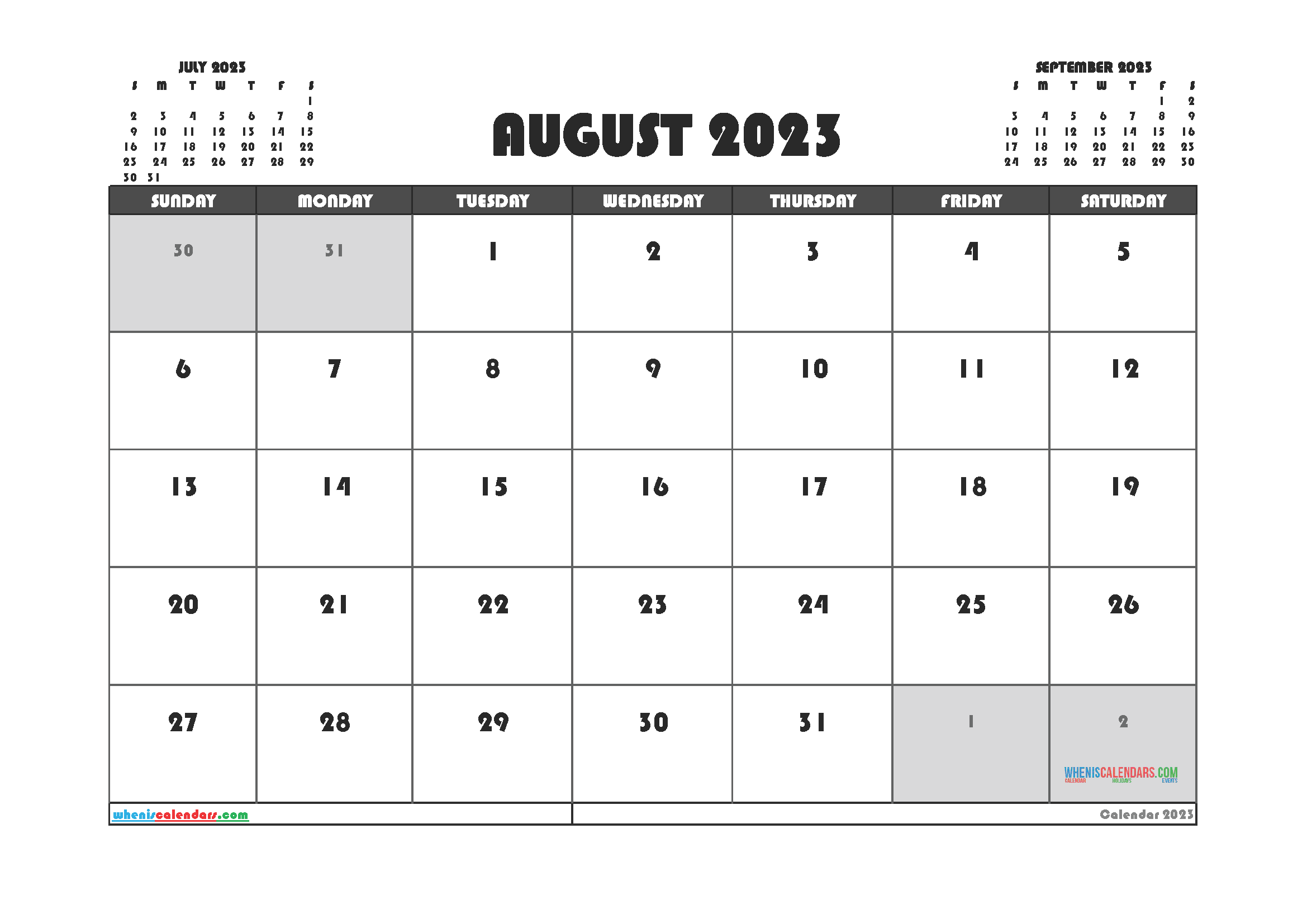 Free Editable August 2023 Printable Calendar