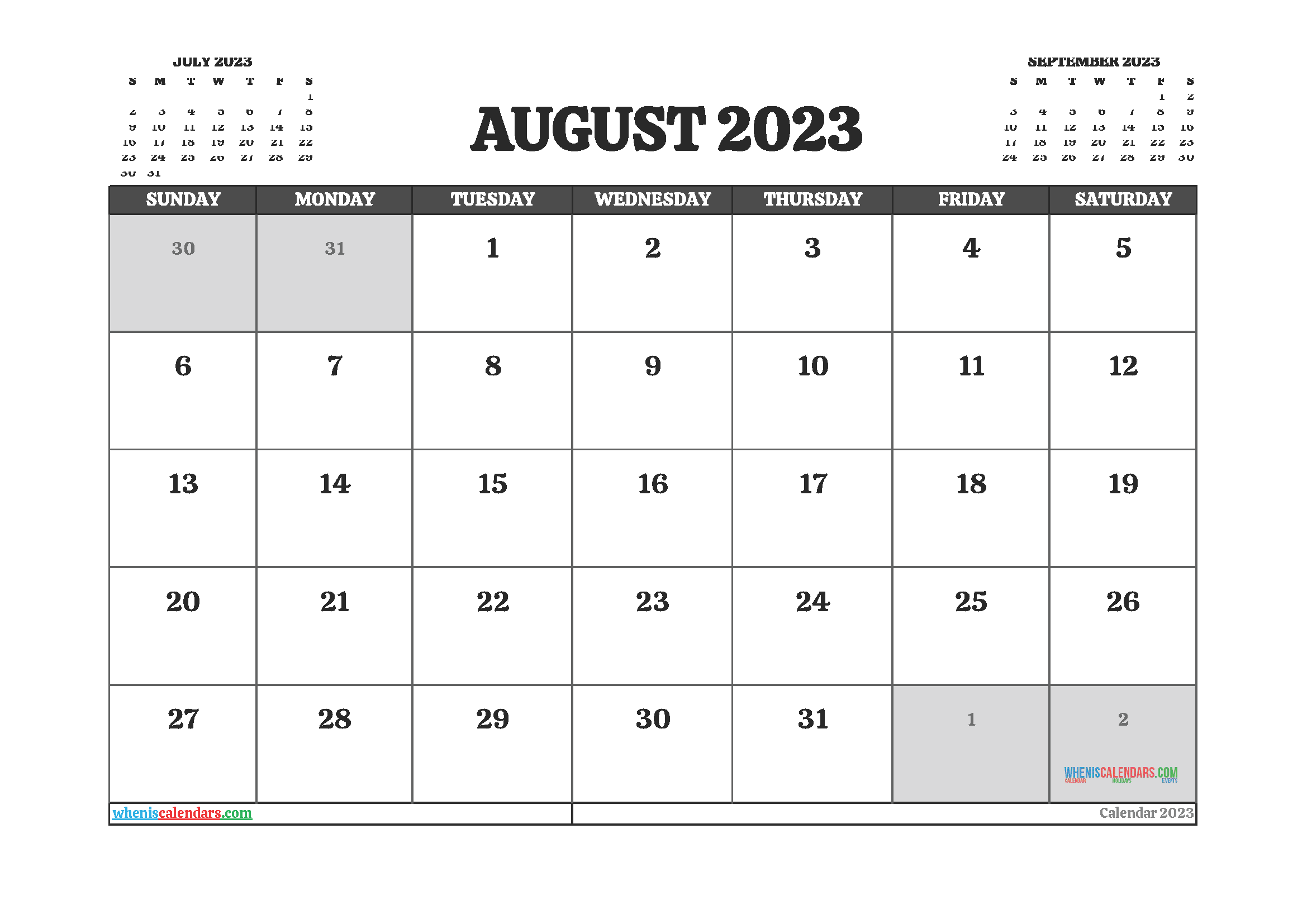 August 2023 Calendar Printable For Free