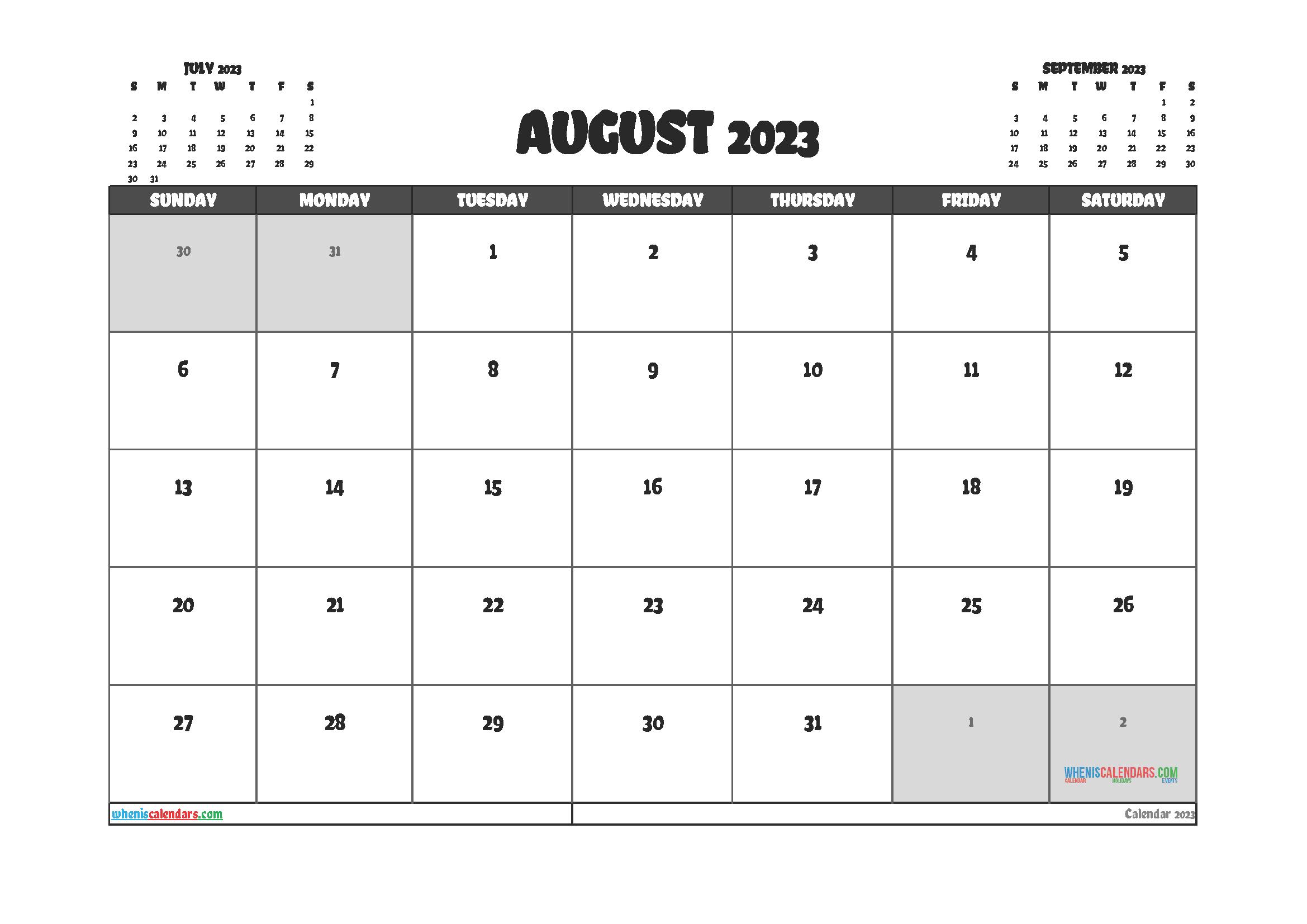 Free Printable August 2023 Calendar