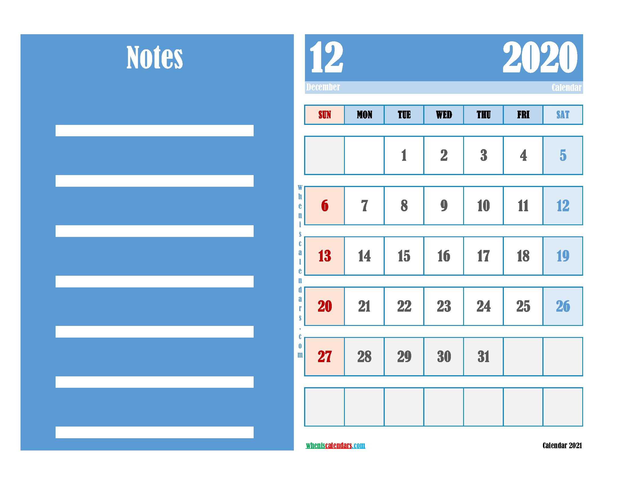 Free Editable Calendar December 2020 PDF