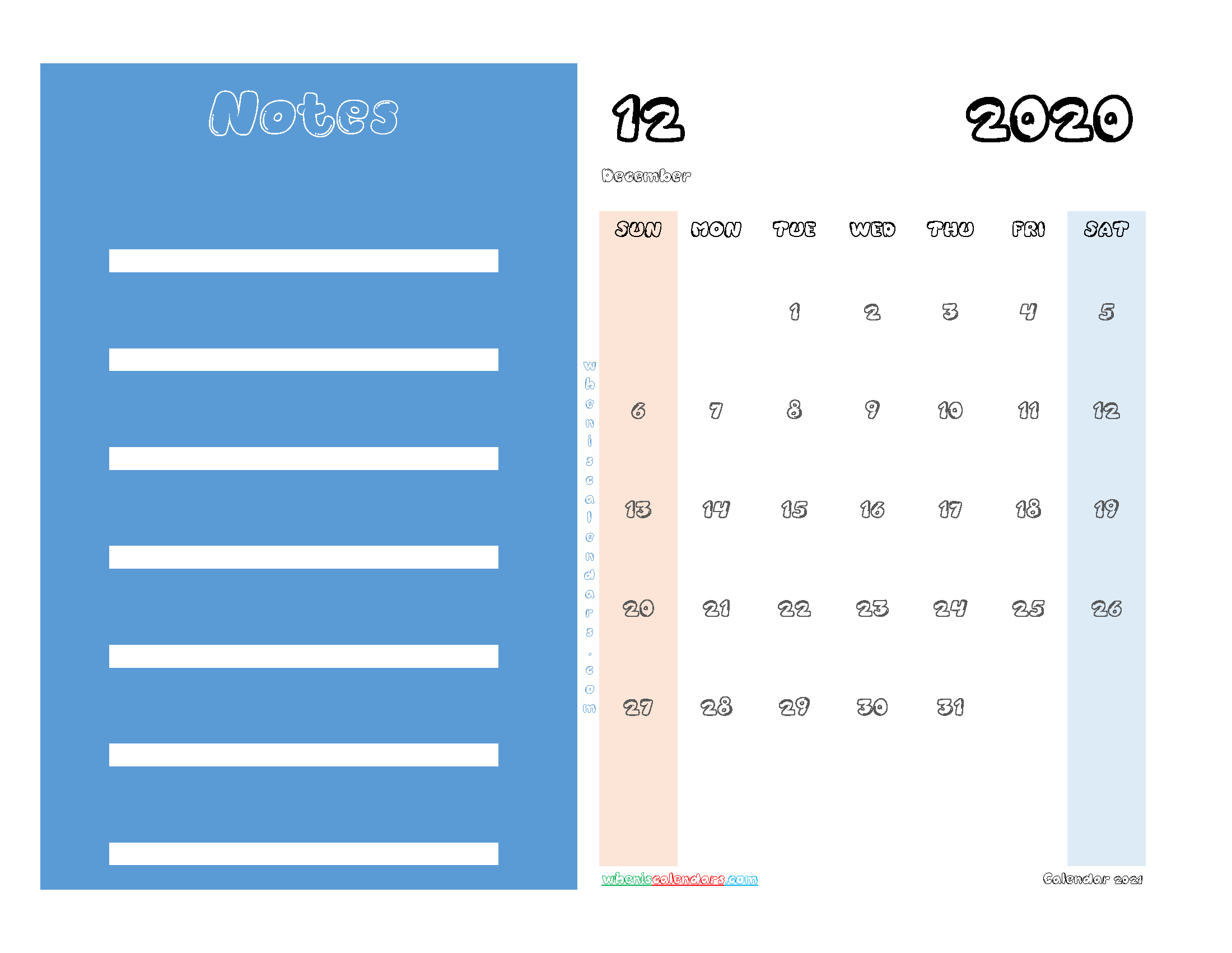 Free December 2020 Printable Calendar PDF