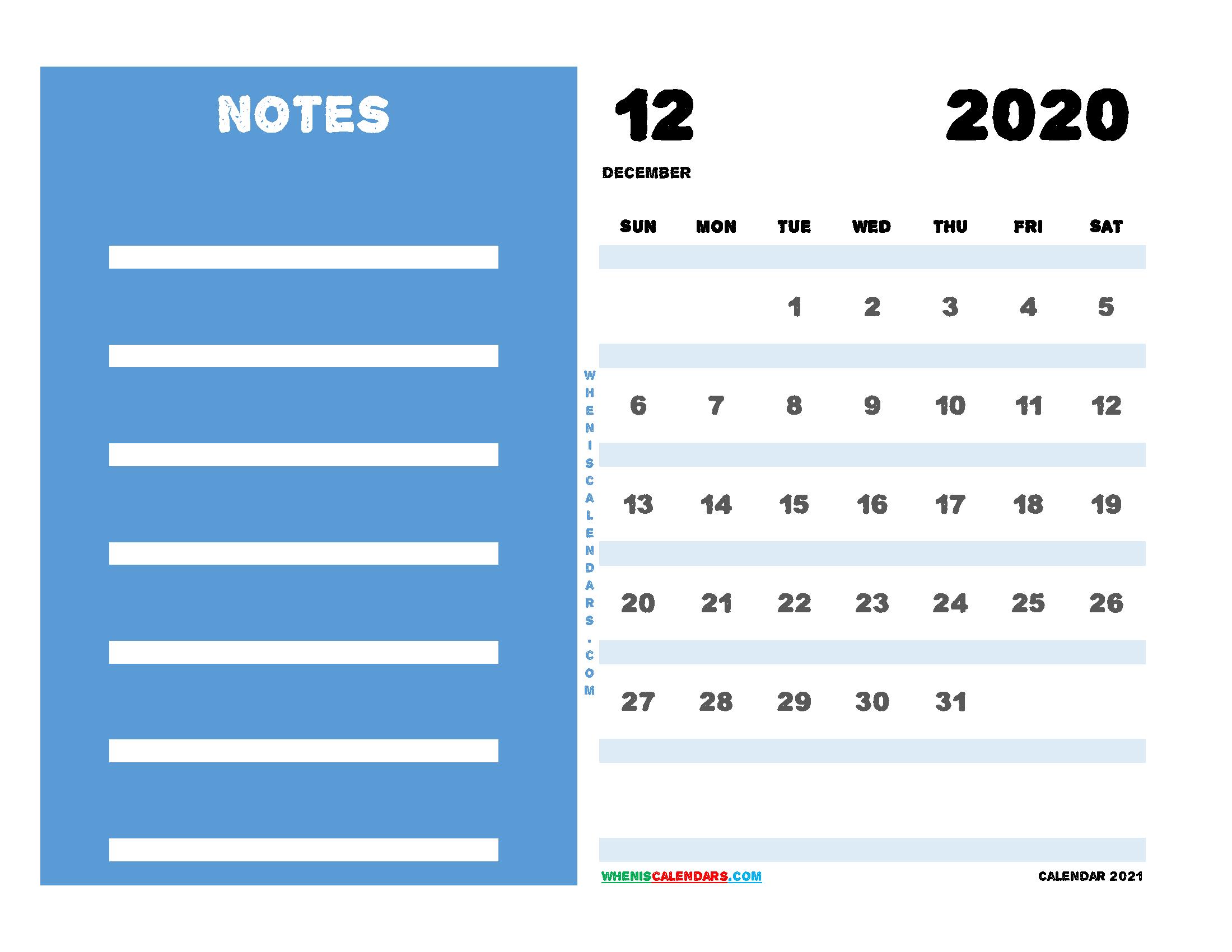 2020 December Calendar Printable Free