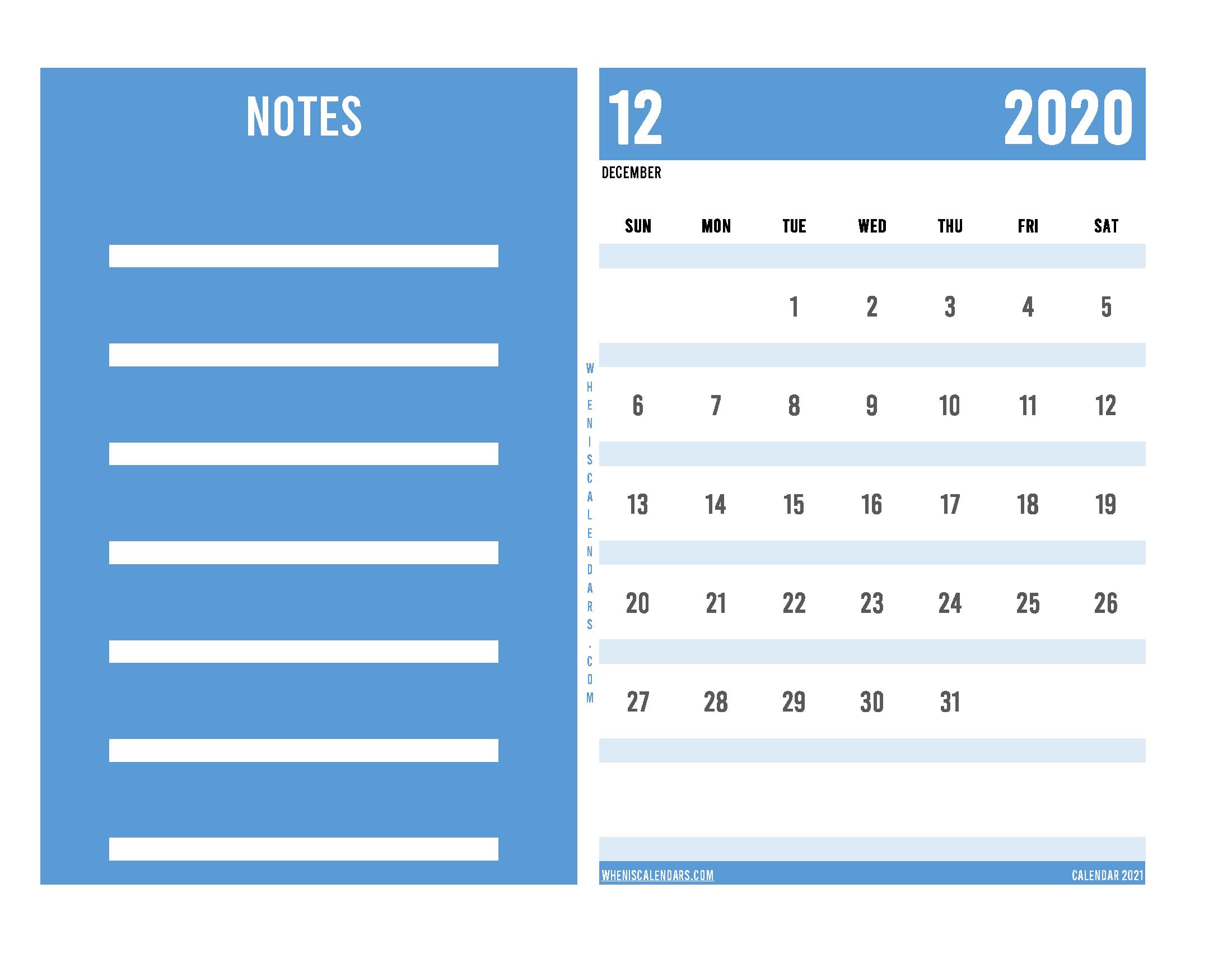 Editable December 2020 Calendar Printable