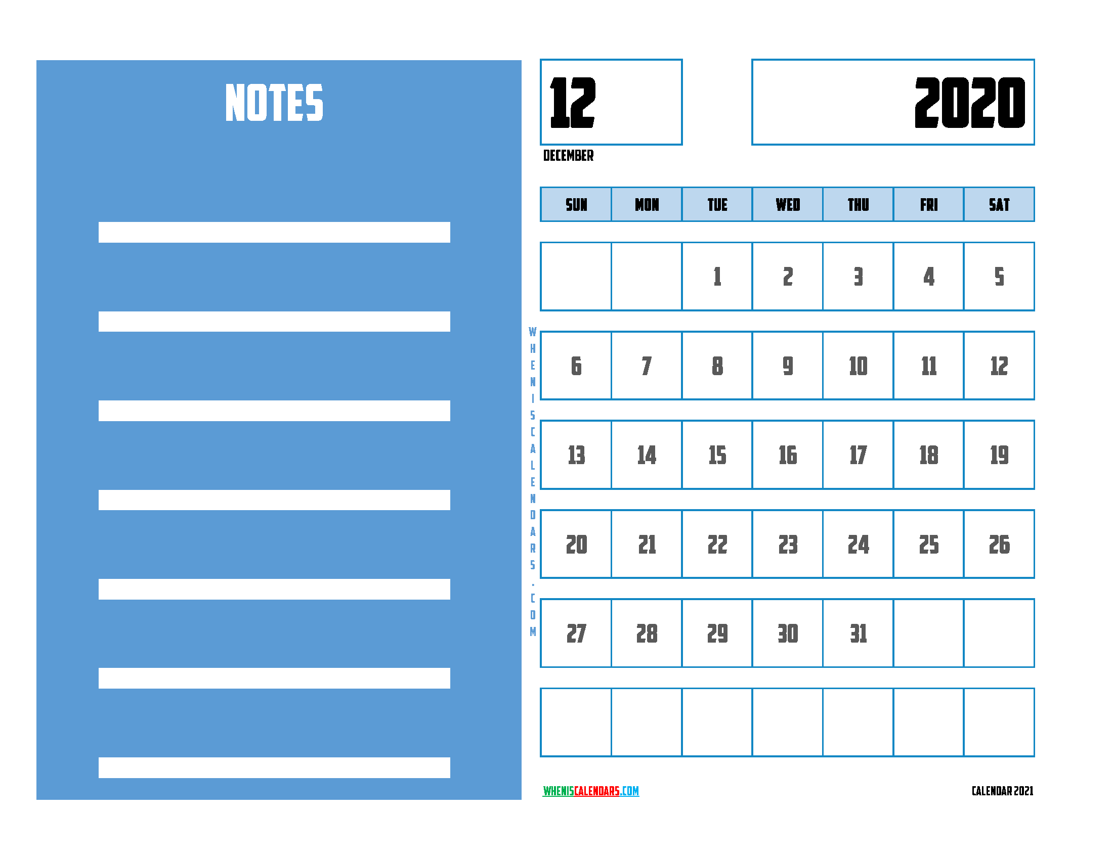 December 2020 Calendar Printable For Free