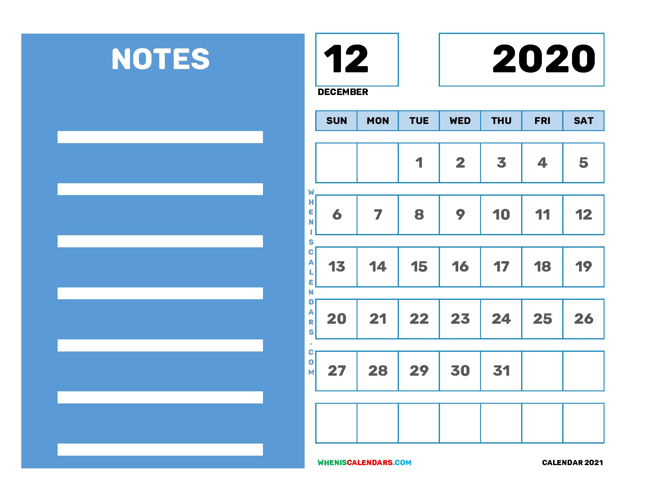 Free Editable December 2020 Printable Calendar