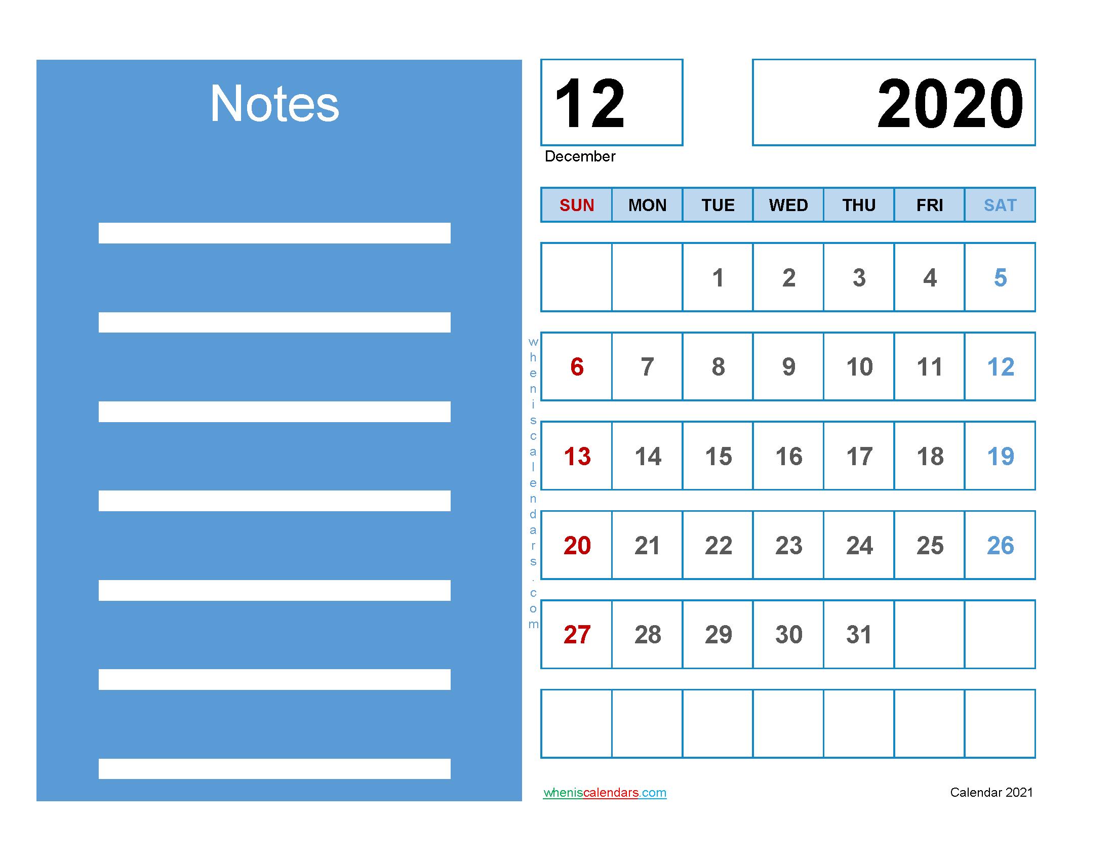 Printable Calendar December 2020 Free