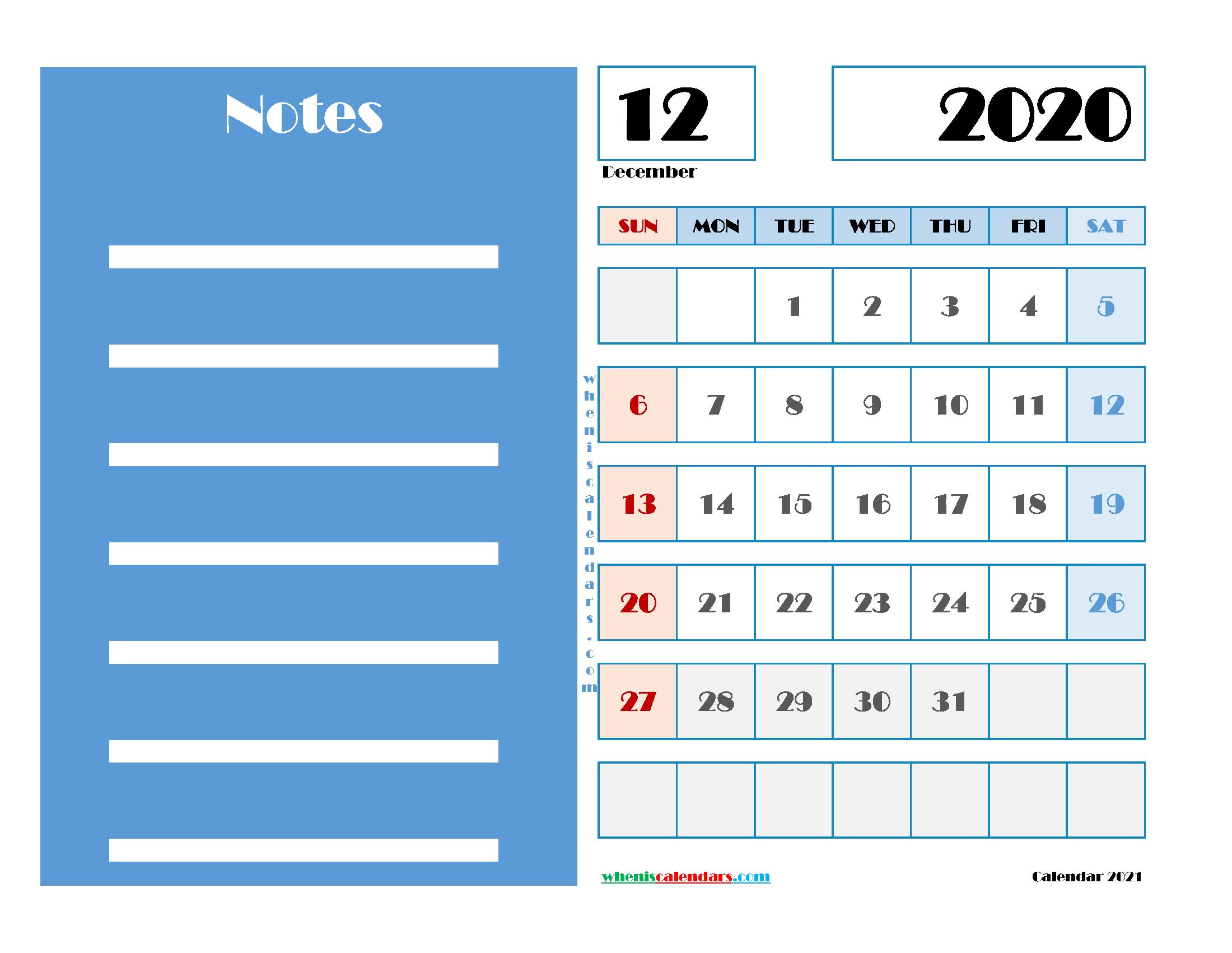 December 2020 Free Calendar Printable