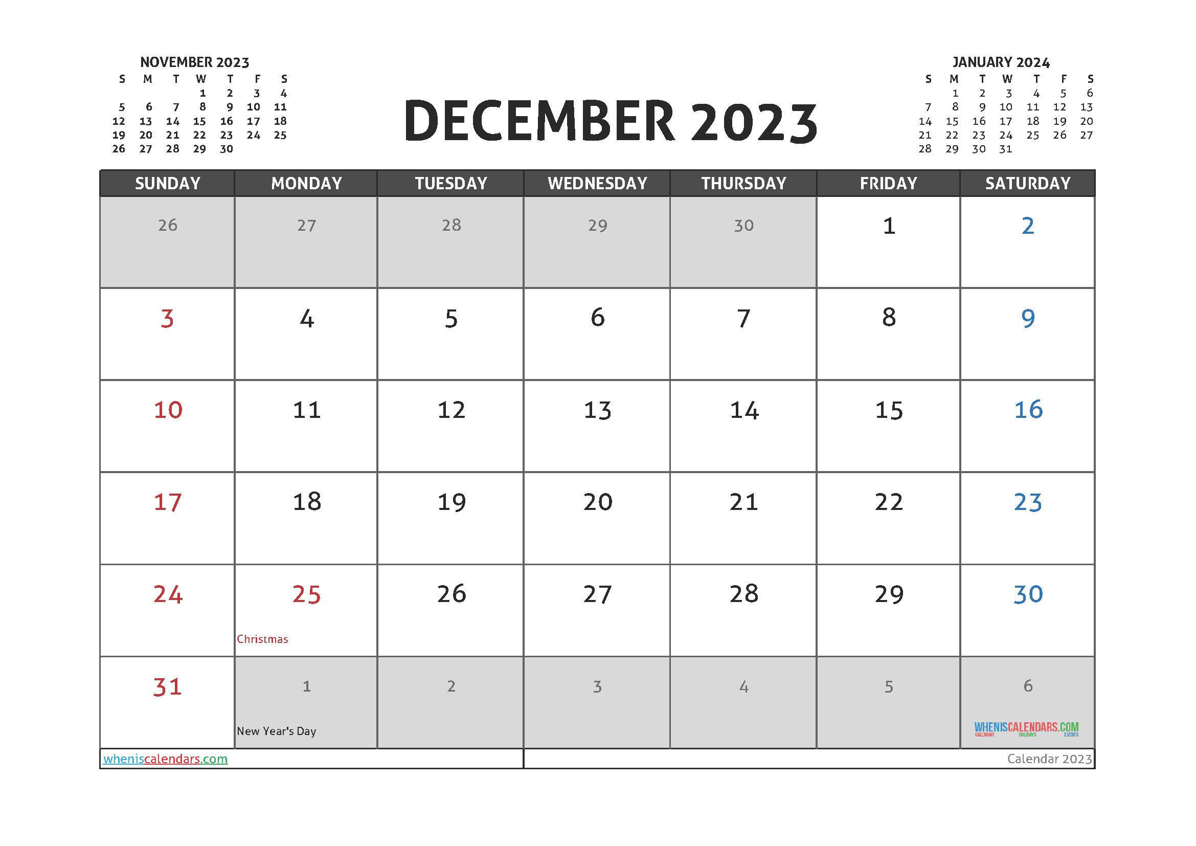 Free Printable December 2023 Calendar